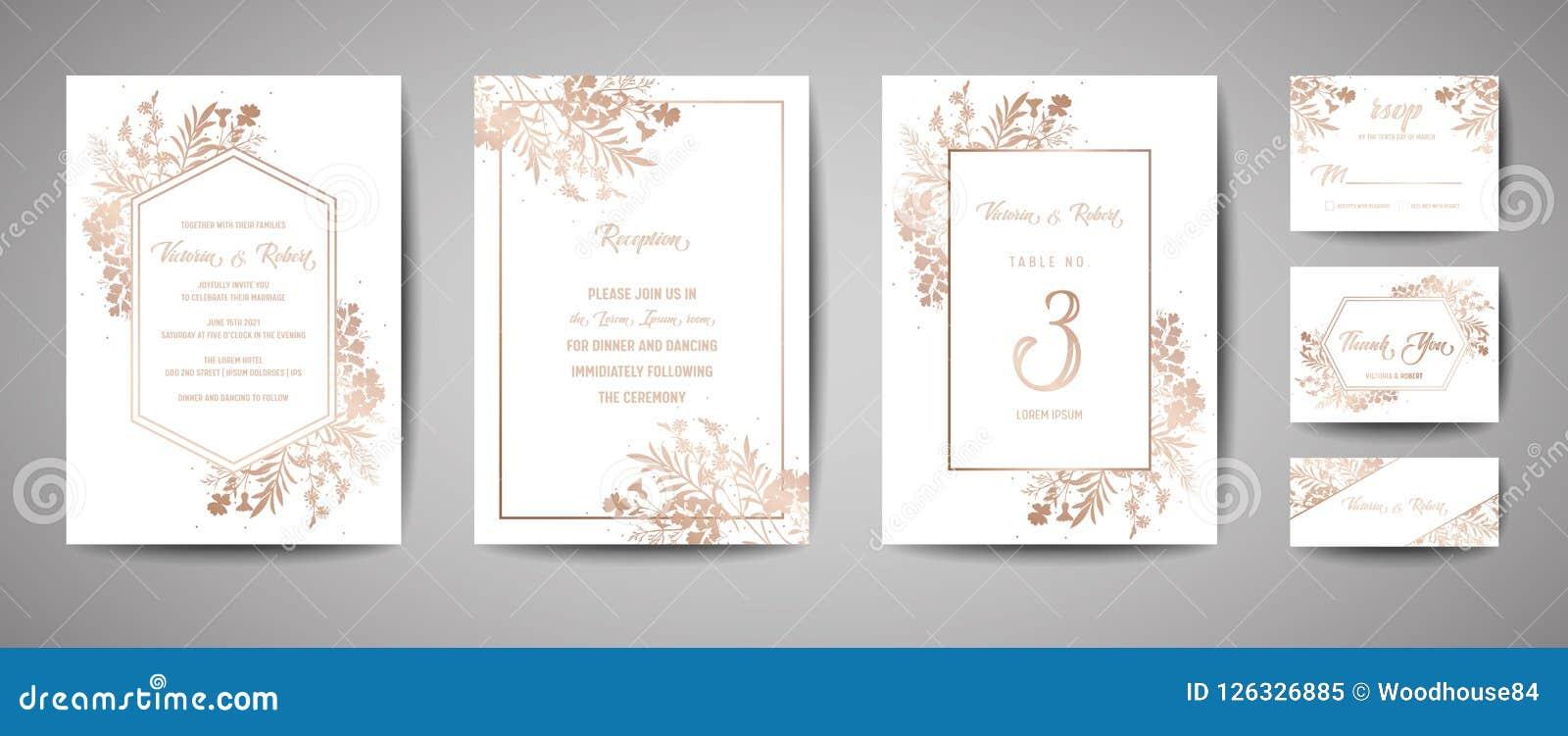Den lyxiga bröllopräddningen datumet, samling för inbjudanmarinkort med guld- folie blommar och för sidor och för kransen den mod