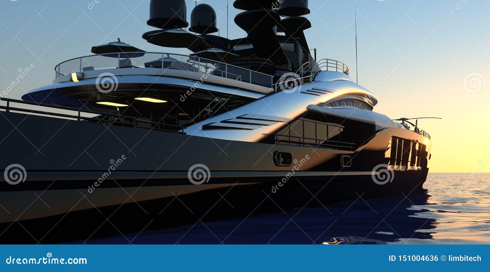 Den lyxiga toppna yachten specificerade extremt och den realistiska höga illustrationen för upplösning 3D