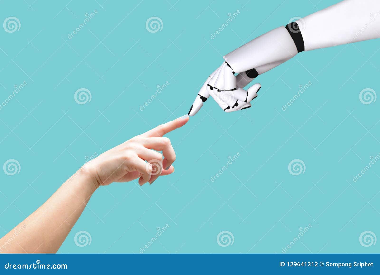 Den mänskliga handen och roboten räcker integration för systembegrepp och koordination av intellektuell teknologi