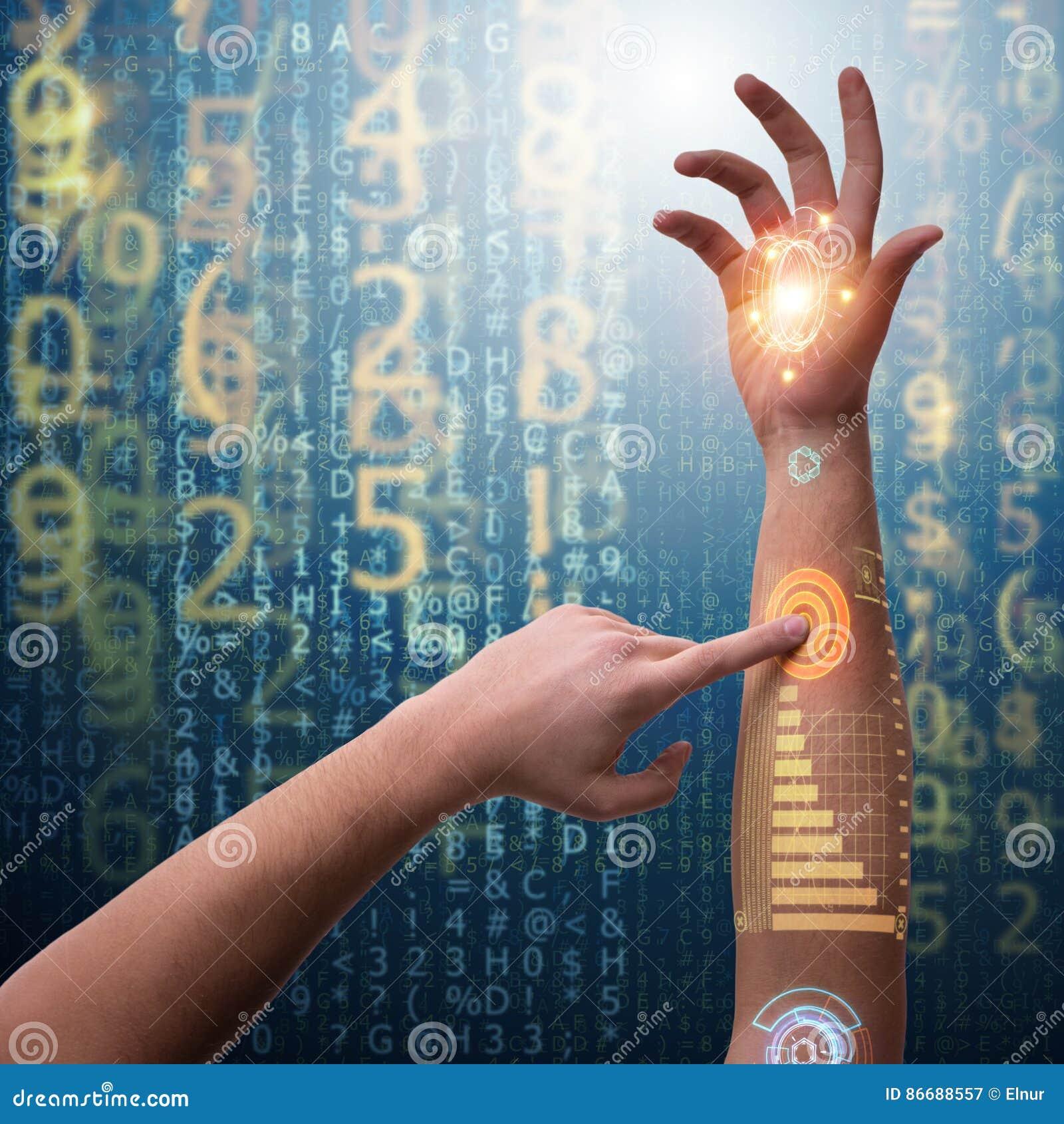 Den mänskliga robotic handen i futuristiskt begrepp