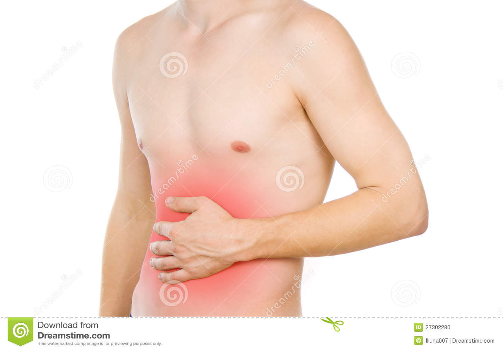 Den Male torsoen, smärtar i magen