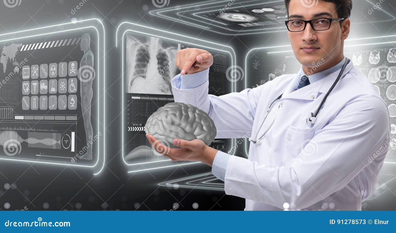 Den manliga doktorn med hjärnan i medicinskt begrepp