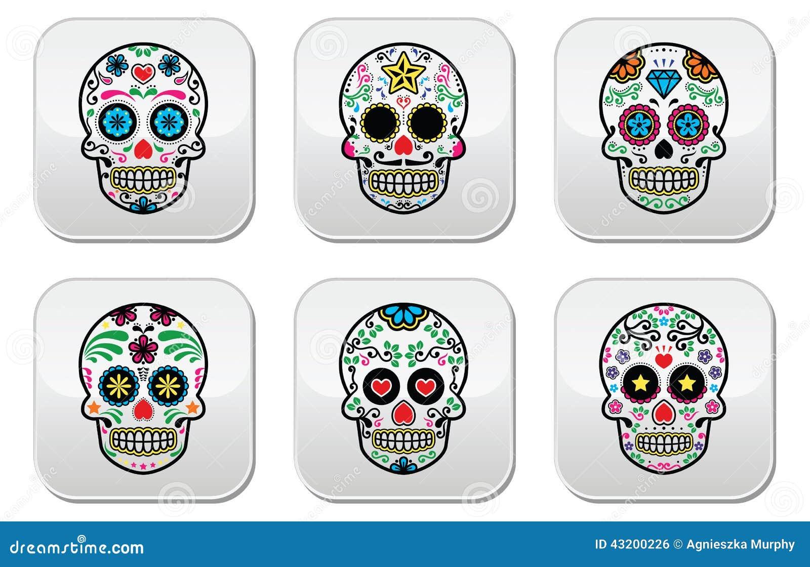 Download Den Mexicanska Sockerskallen, Diameter De Los Muertos Knappar Ställde In På Vit Bakgrund Vektor Illustrationer - Illustration av leaves, färgrikt: 43200226