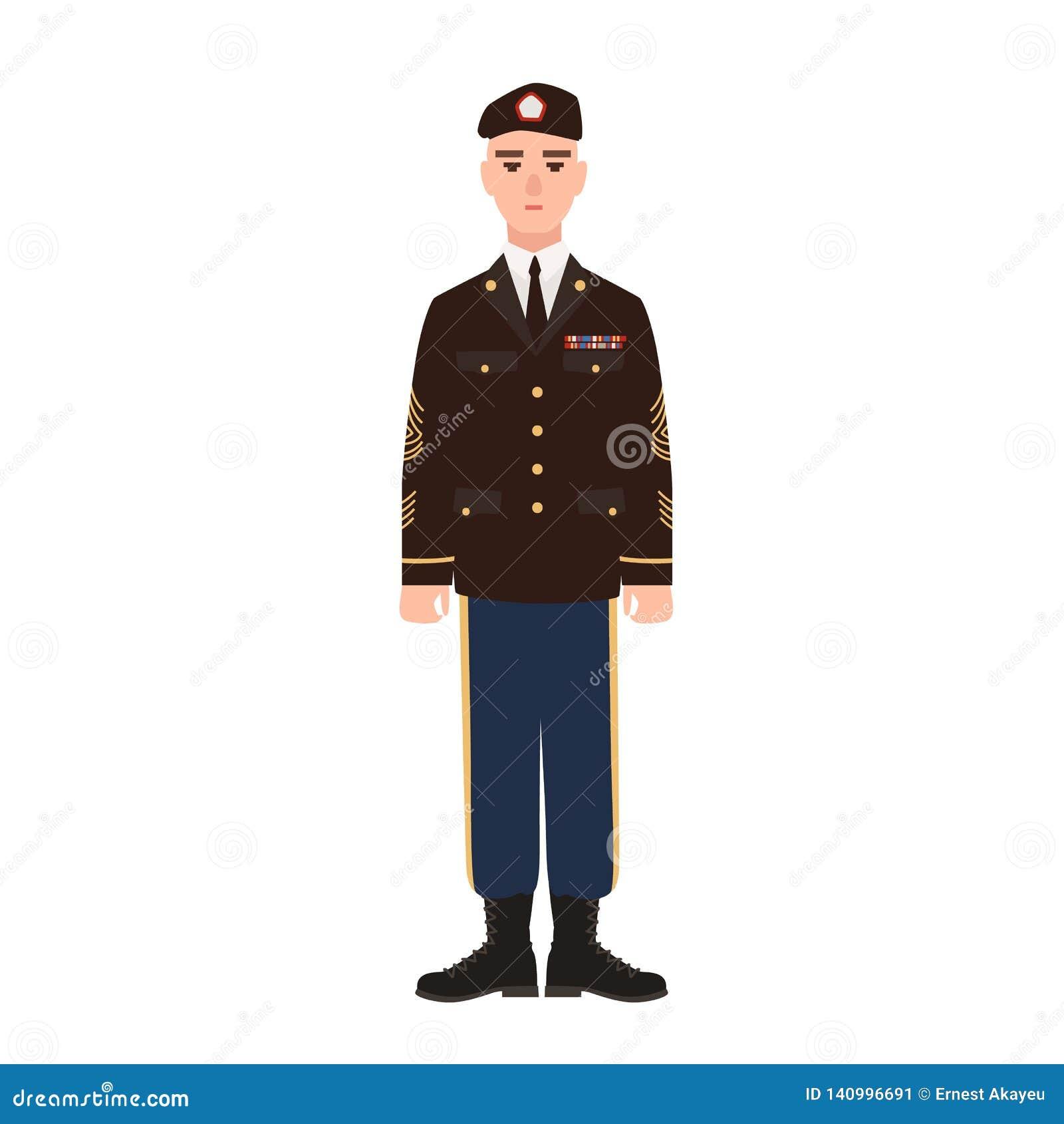 Den militära mannen av USA beväpnade den bärande högtidsdräktlikformign och basker för styrka Amerikansk soldat, värnpliktig elle
