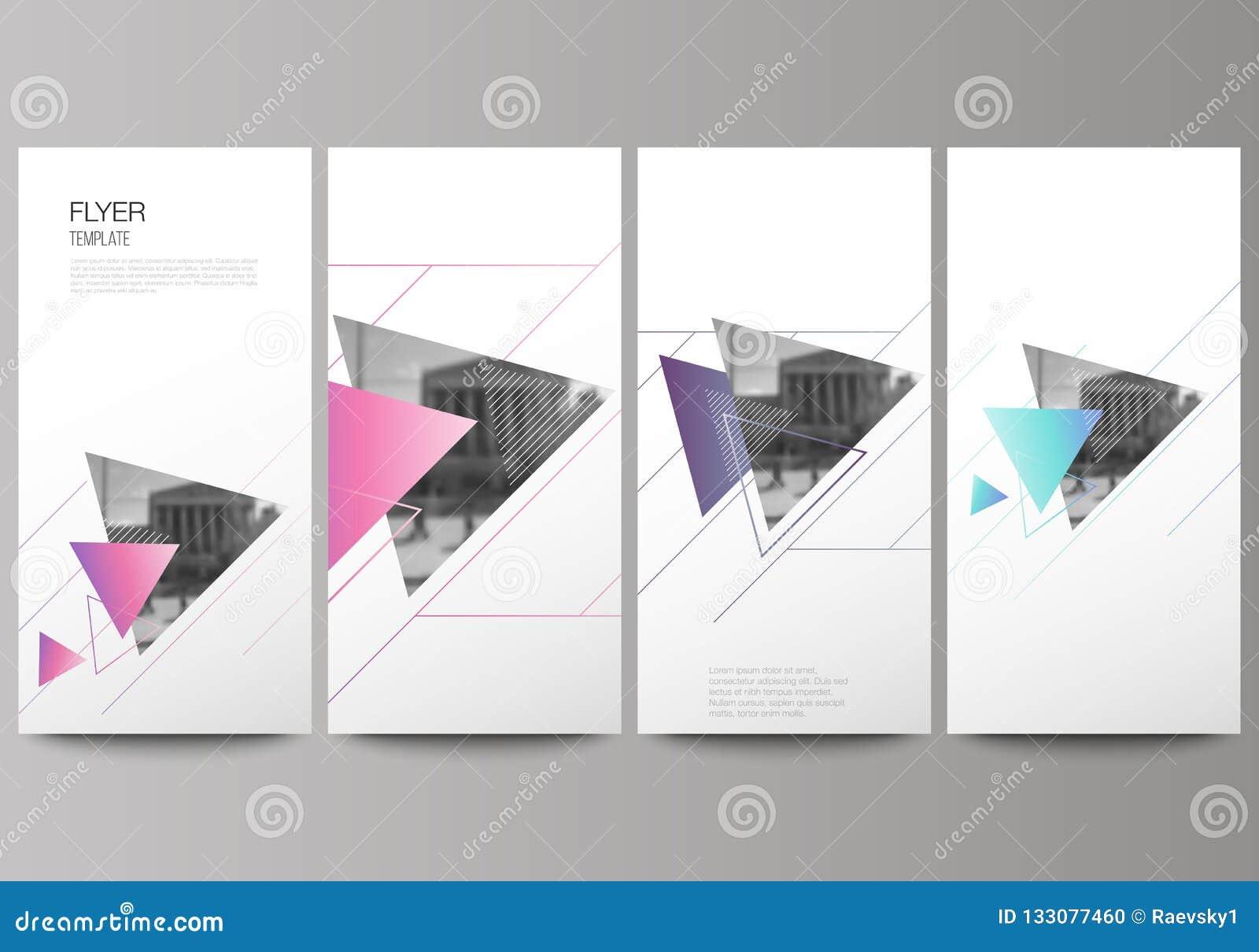Den minimalistic vektorillustrationen av den redigerbara orienteringen av reklambladet, banerdesignmallar Färgrikt polygonal