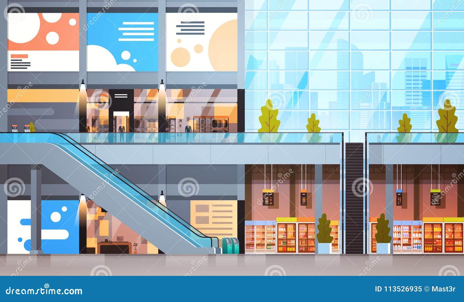 Den moderna detaljisten med många shoppar och den tomma inre för supermarket inga personer