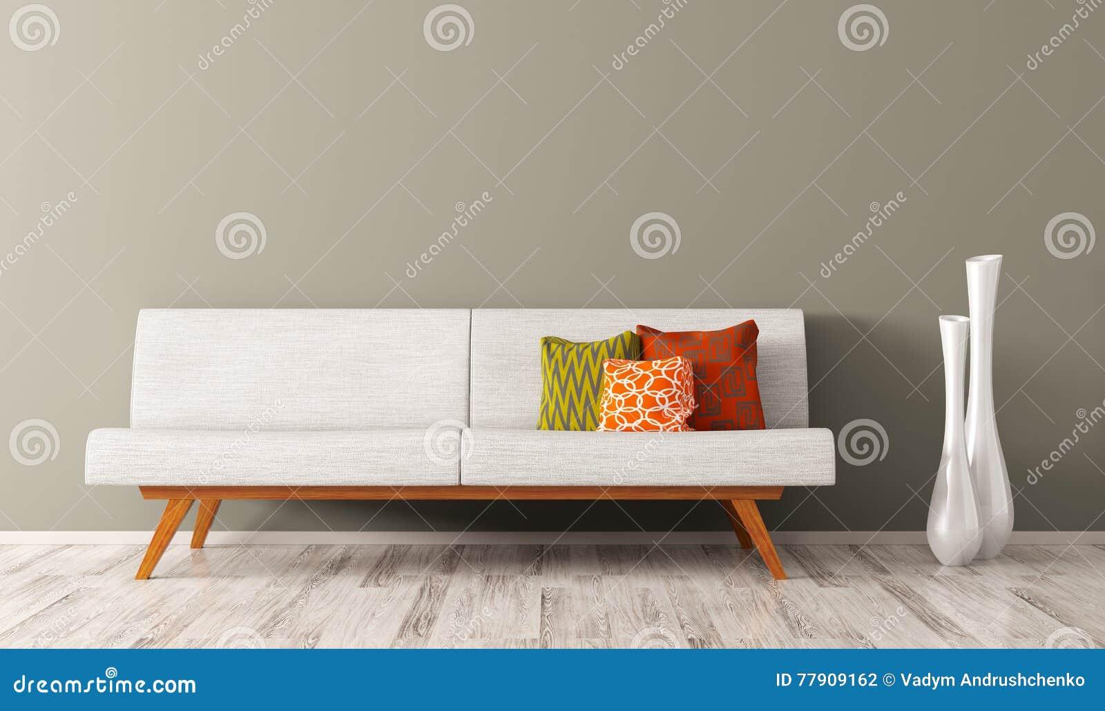 Den moderna inre av vardagsrum med den vita soffan 3d framför