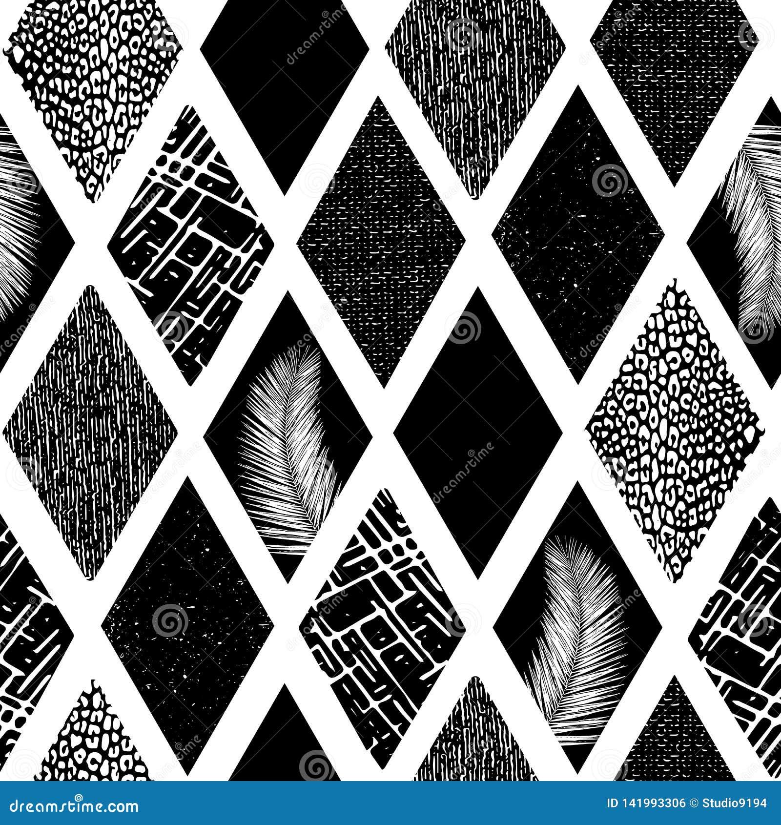 Den monokromma collageromben formar den sömlösa vektormodellen Geometriska texturerade former för modern abstrakt bakgrund