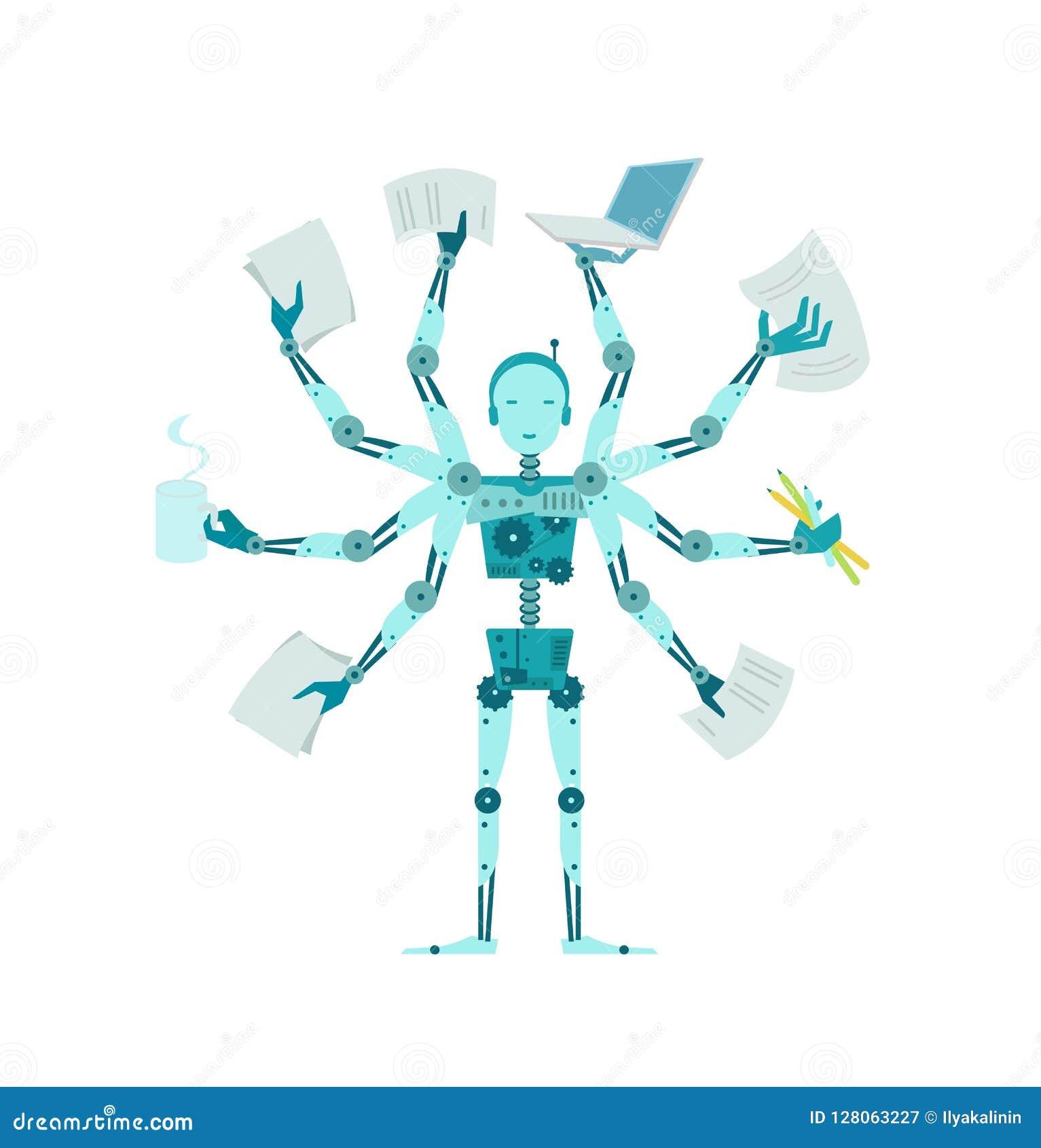 Den multilimbed roboten Multifunctional cyborgchef för kontor