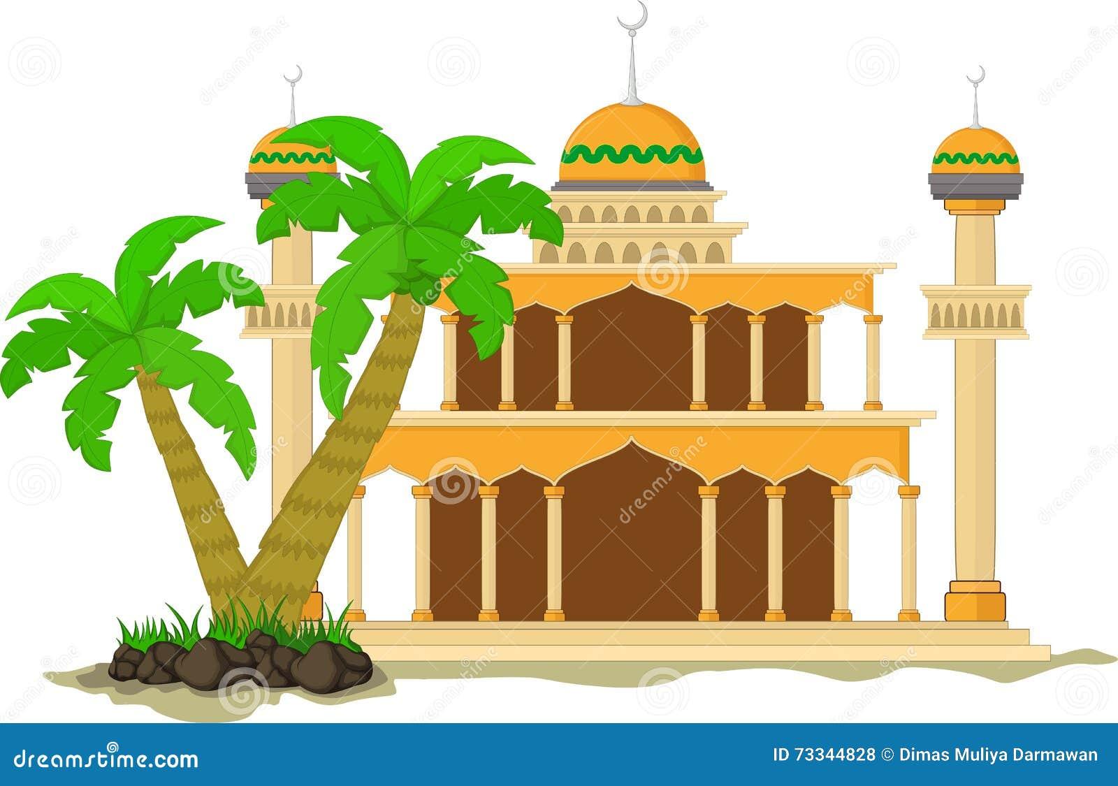 Den muslimska moskén isolerade den plana fasaden på vit bakgrund Sänka med skuggaarkitekturobjekt Vektortecknad filmdesign Härlig
