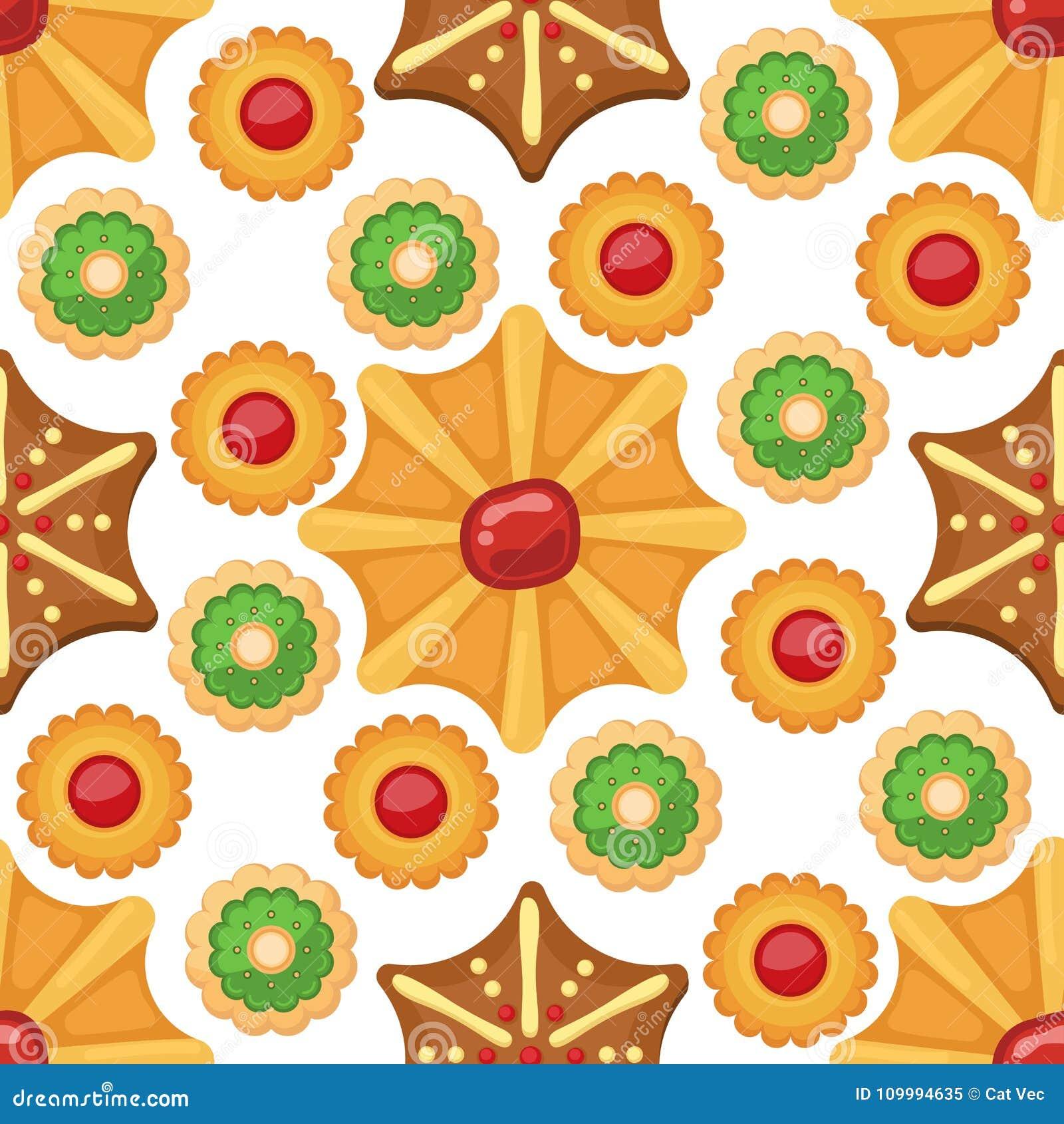 Den olika kakan bakar ihop illustrationen för vektorn för efterrätten för det sömlösa för modellbakgrund söta mellanmålet för mat