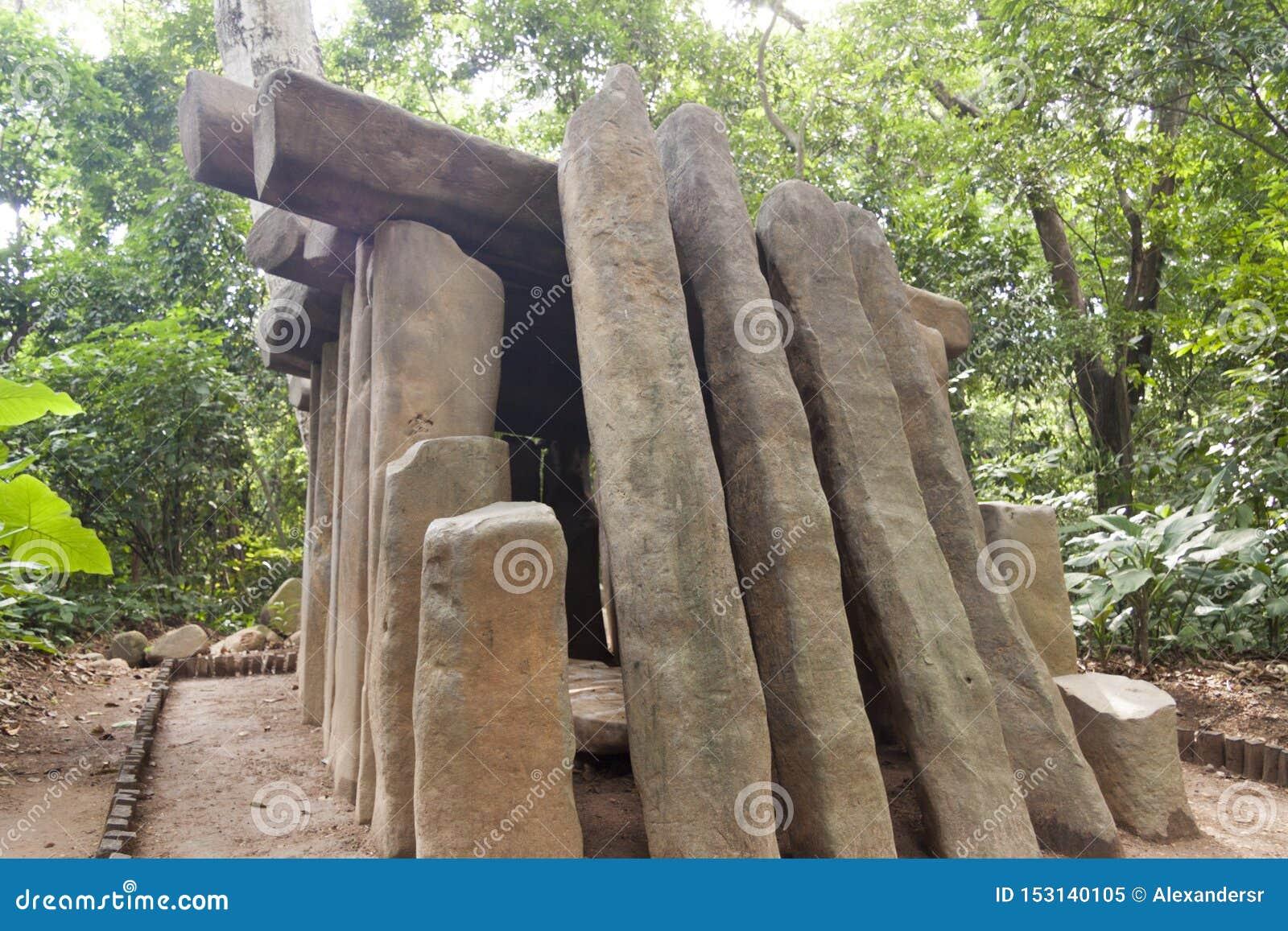 Den Olmec jordfästningen, Olmec det arkeologiska museet, La Venta parkerar museet Villahermosa tabasco, Mexico