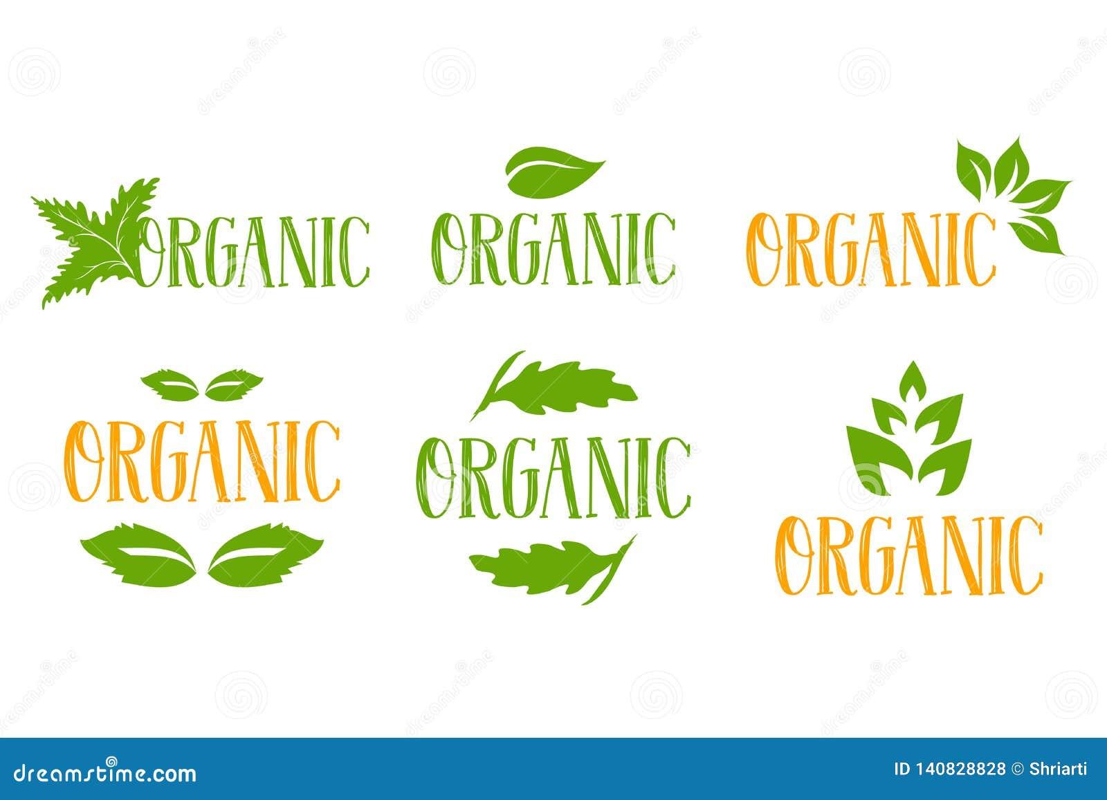 Den organiska vektorlogoen ställde in i gröna och orange färger med flera typer av gröna växt- sidor