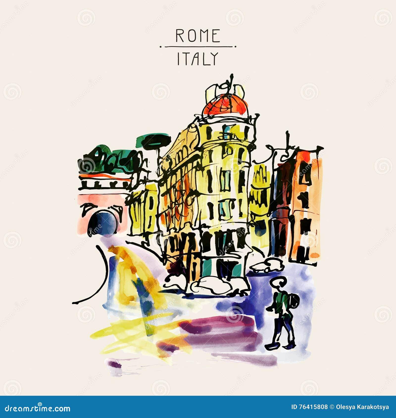 Den original- vattenfärgen skissar handteckningen av Rome Italien berömd cit