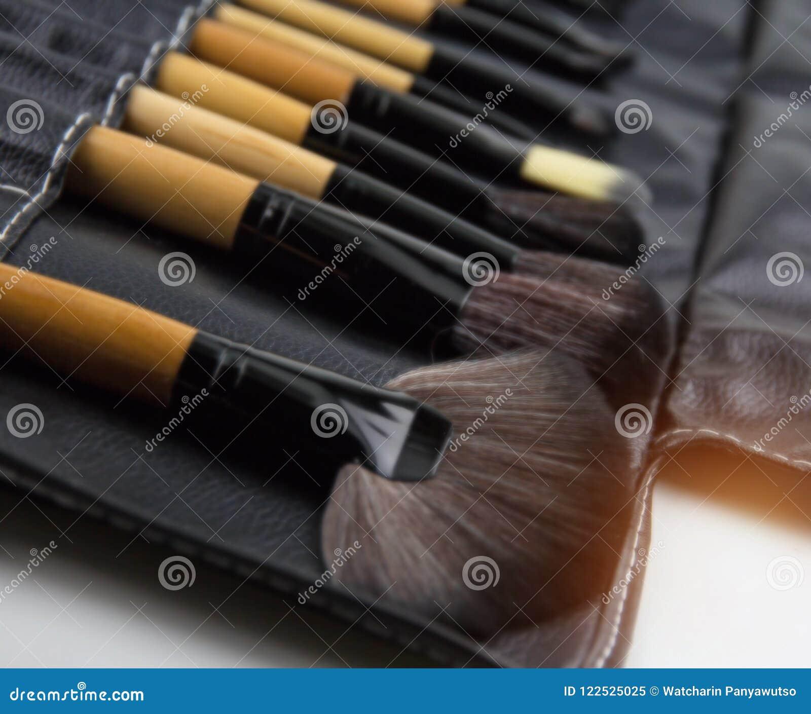 Den oskarpa ljusa designbakgrunden av den kosmetiska borsteuppsättningen som sätts i svart läderfall, för utgör, den yrkesmässiga
