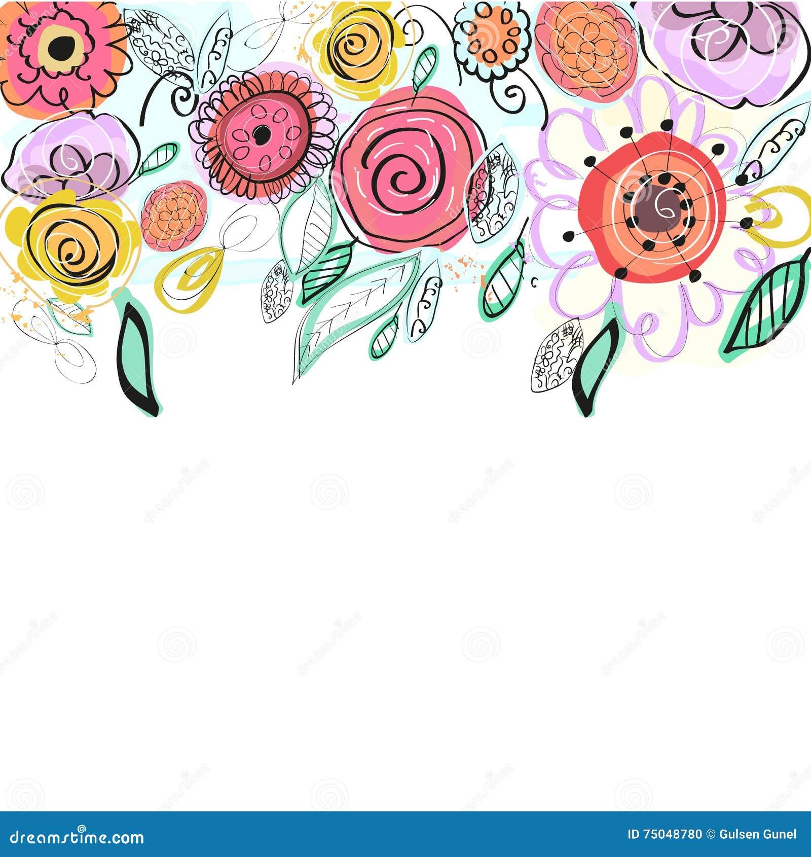 Den pastell färgade våren blommar hälsningkortet Dekorativ färgrik blom- vektorbakgrund