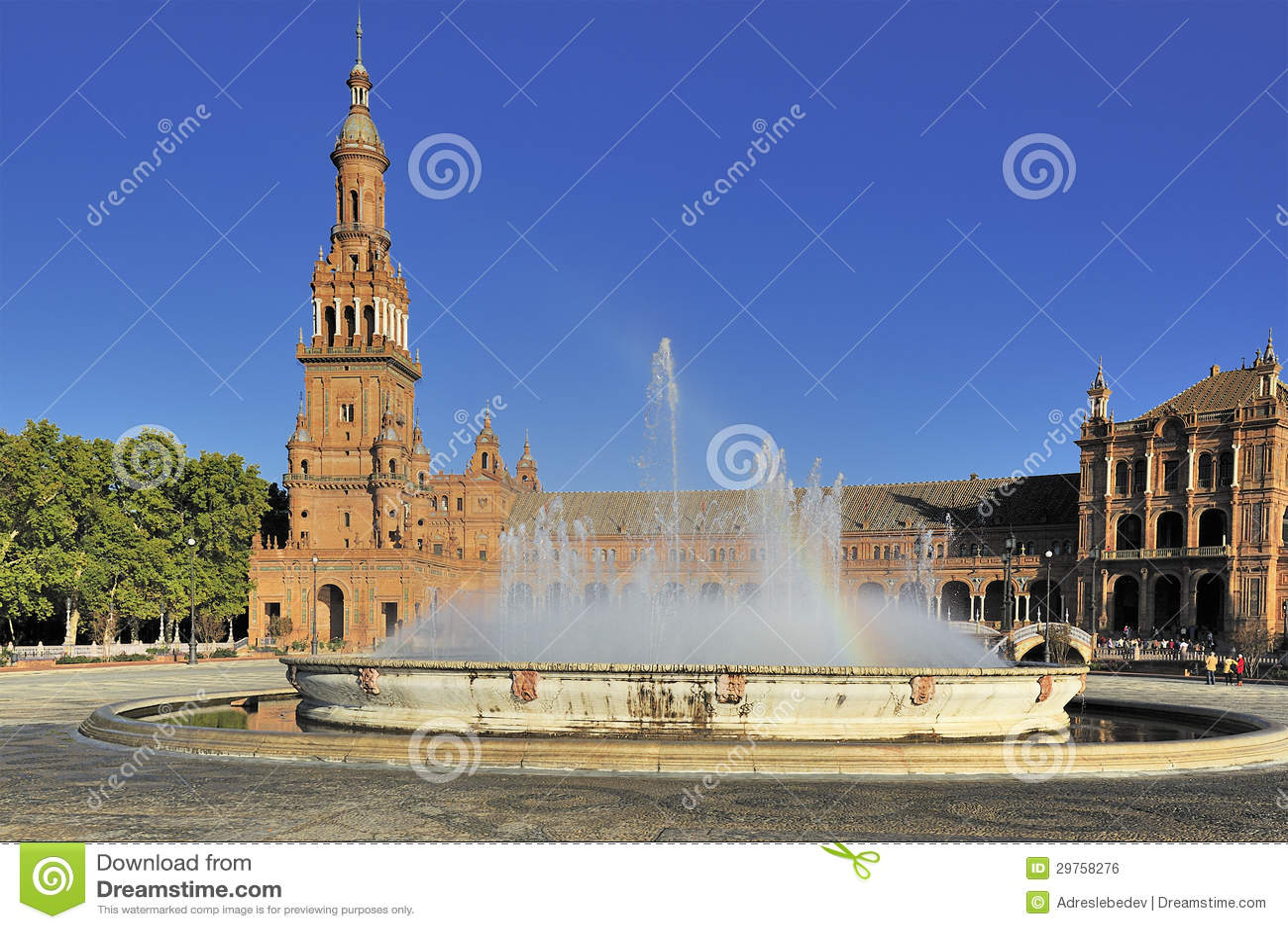 Plaza de Espana (Spanien kvadrerar), Seville, Spanien