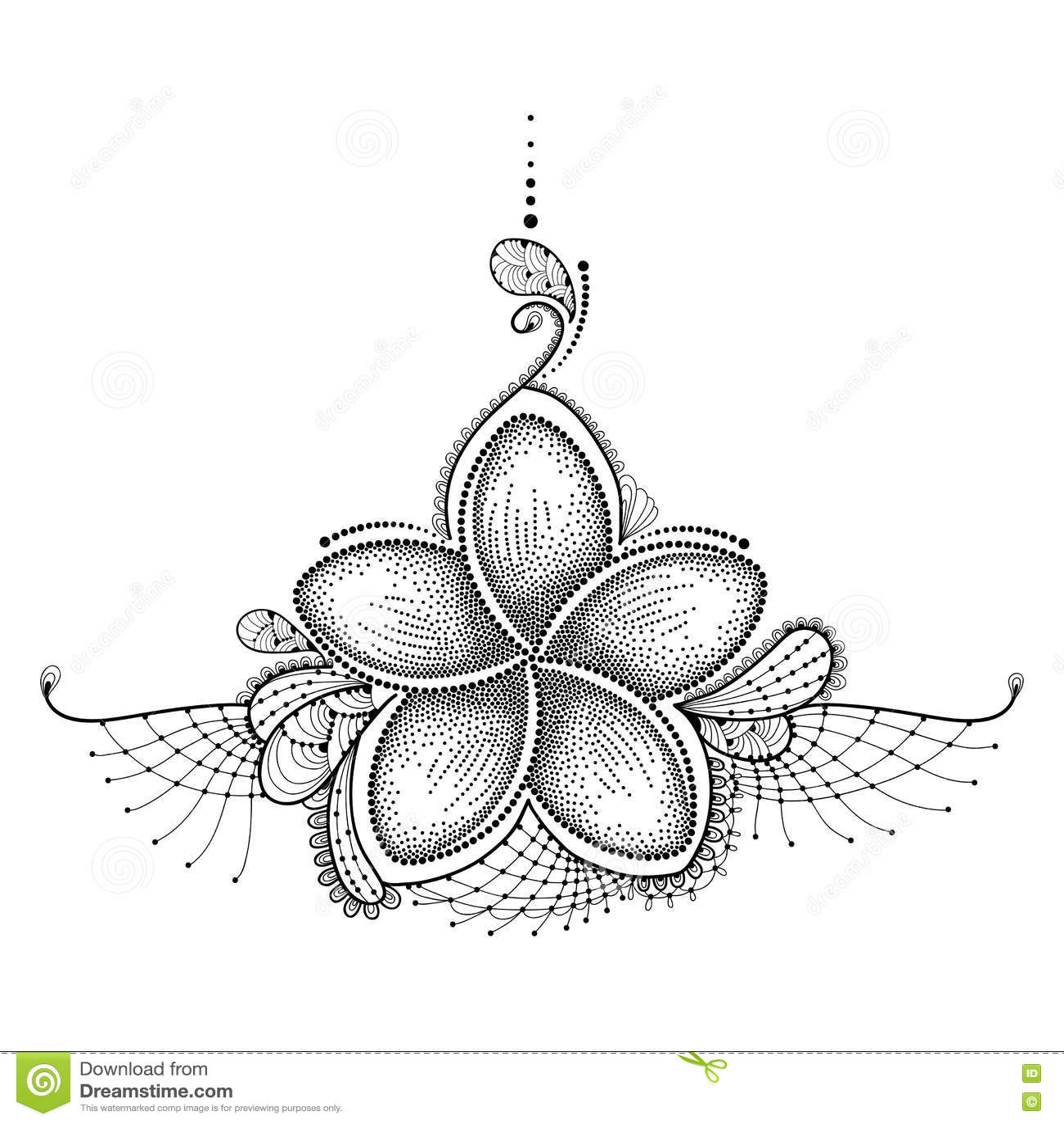 Den prickiga blomman av Plumeria eller frangipanien i svart med dekorativt snör åt på vit Blom- beståndsdelar i dotwork för tatue