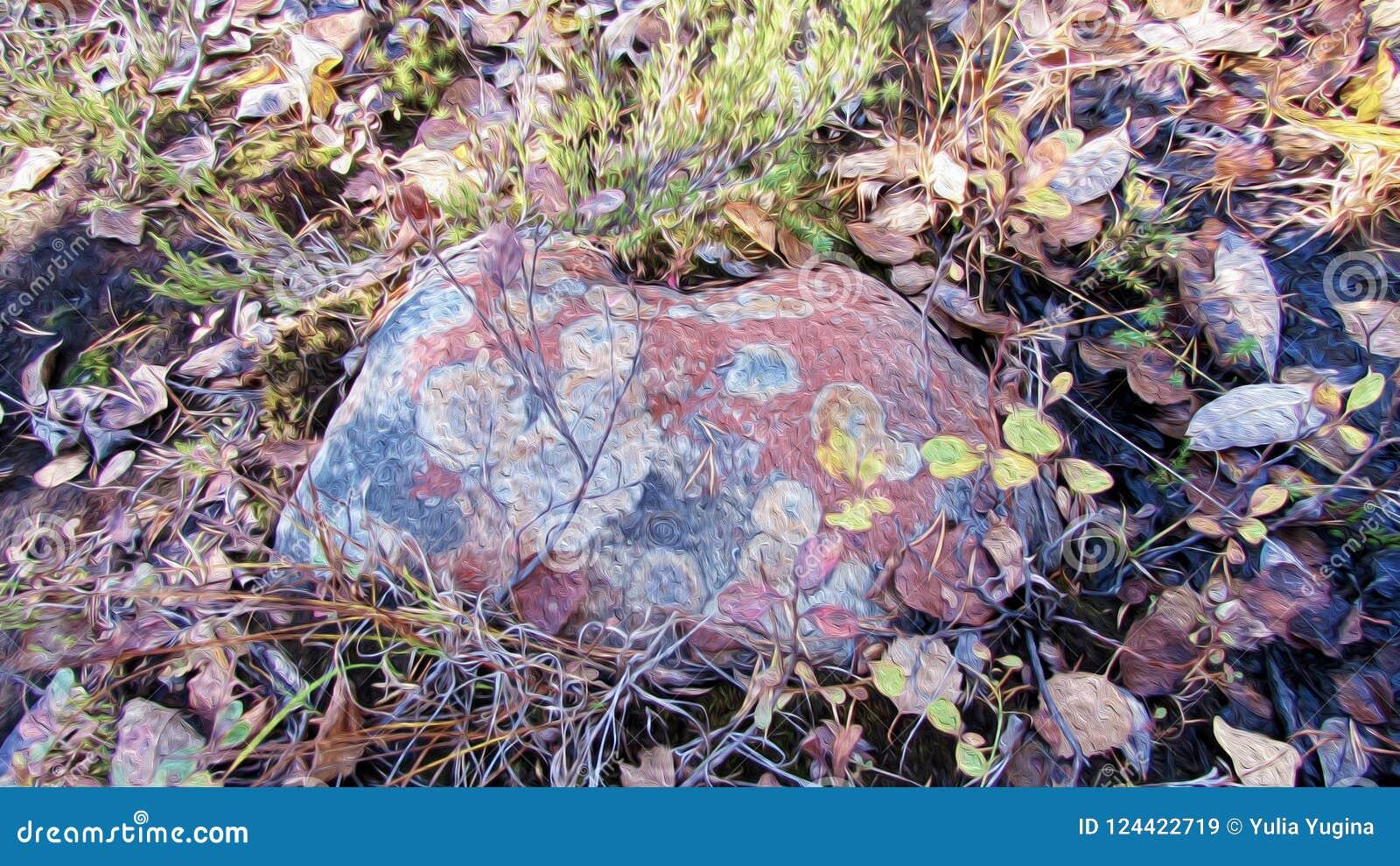 Den prickiga färgrika stenen som ligger i mossa och höst, vissnade lövverk, textur av olje- målning
