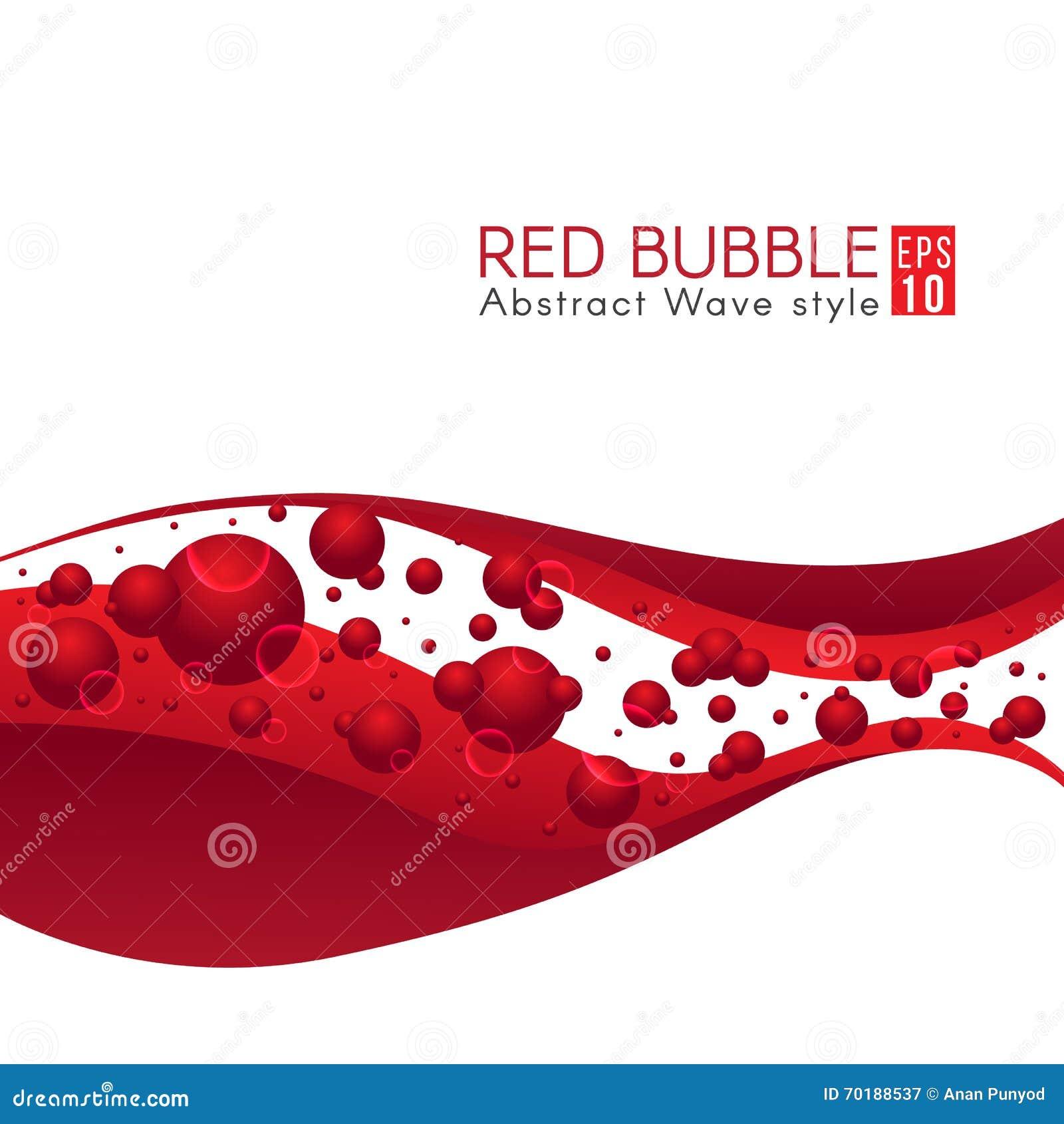 Den röda bubblan och vektorn för abstrakt konst för våg planlägger