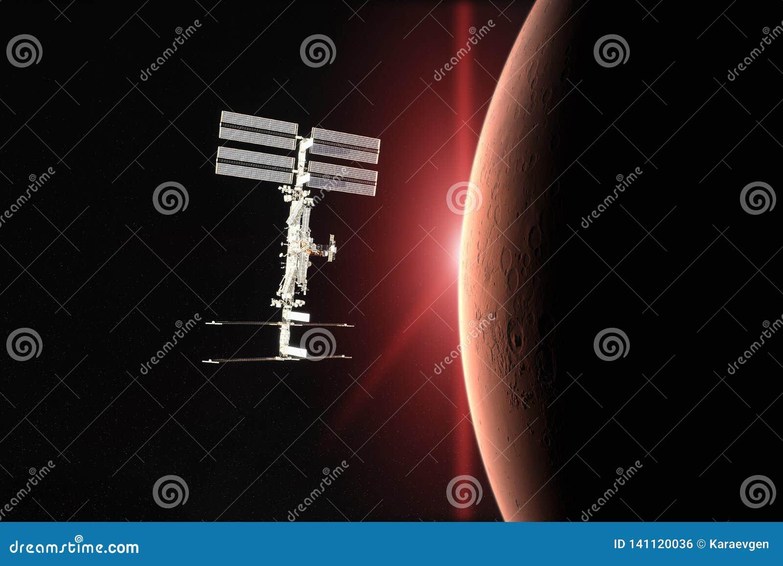 Den röda planeten fördärvar Rymdskepplansering in i utrymme Beståndsdelar av denna avbildar möblerat av NASA