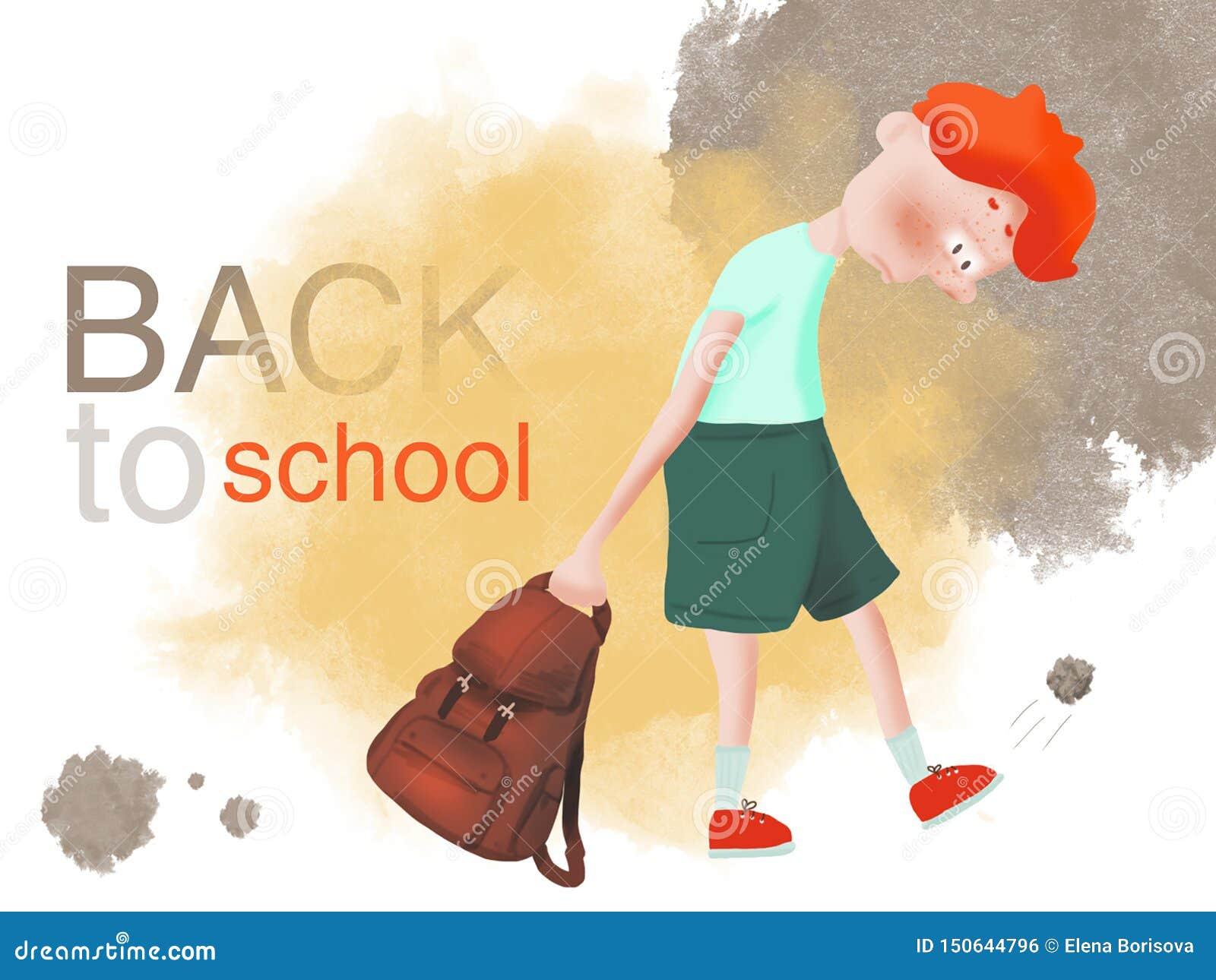 Den rödhåriga pojkeöversittaren önskar inte att gå att skola