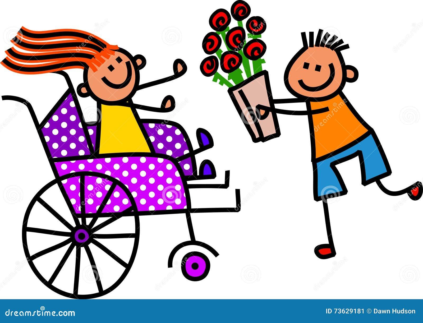 Den rörelsehindrade flickan får blommor