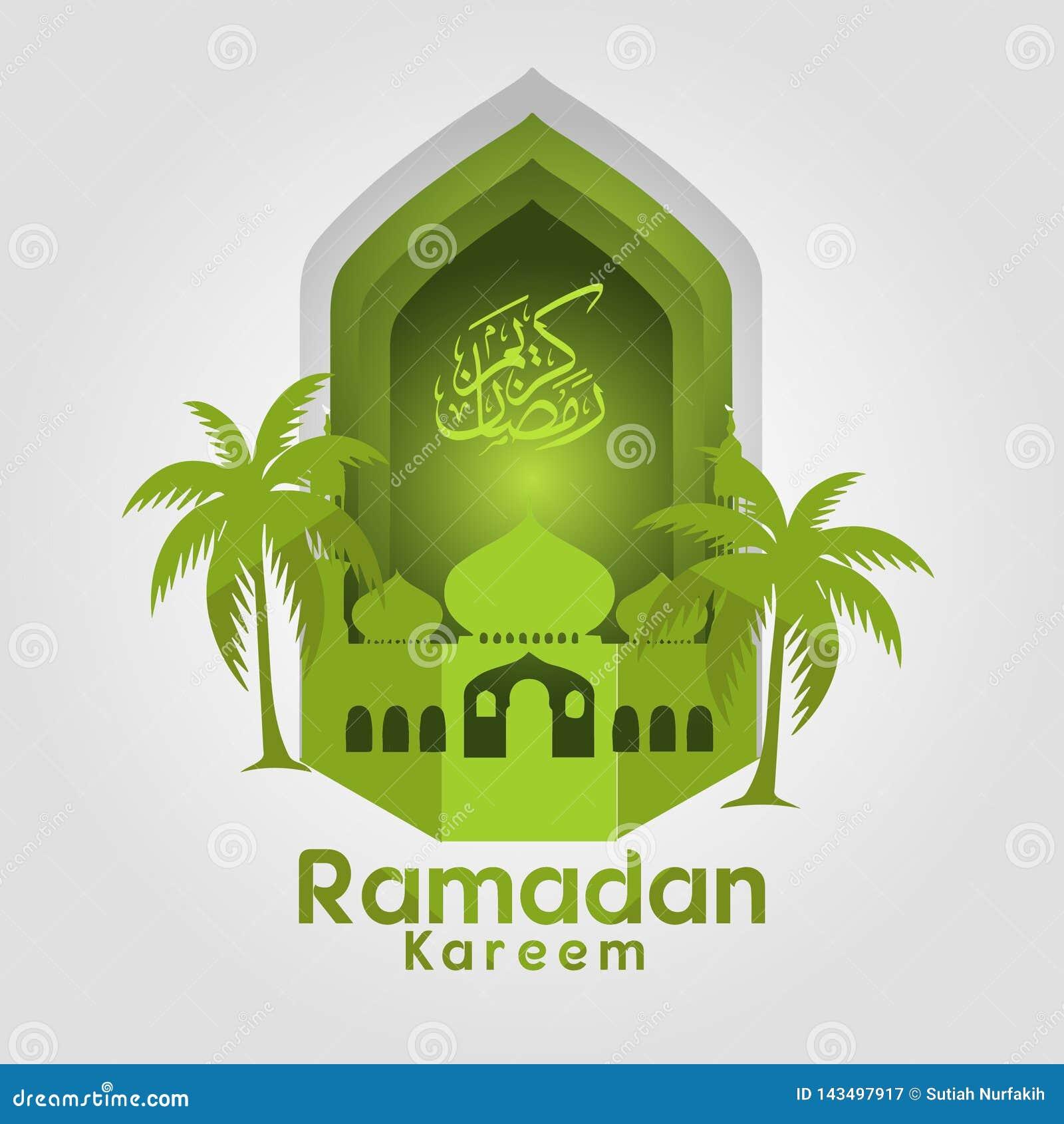 Den Ramadan Kareem Greeting kortmappen i fria händer skriver med en modern stil för pappers- hantverk