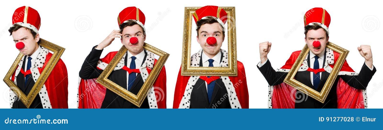 Den roliga affärsmannen med clownnäsan