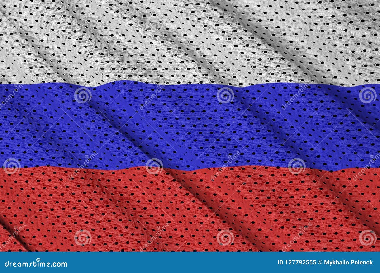 Den Ryssland flaggan skrivev ut på ett tyg för ingrepp för polyesternylonsportswear