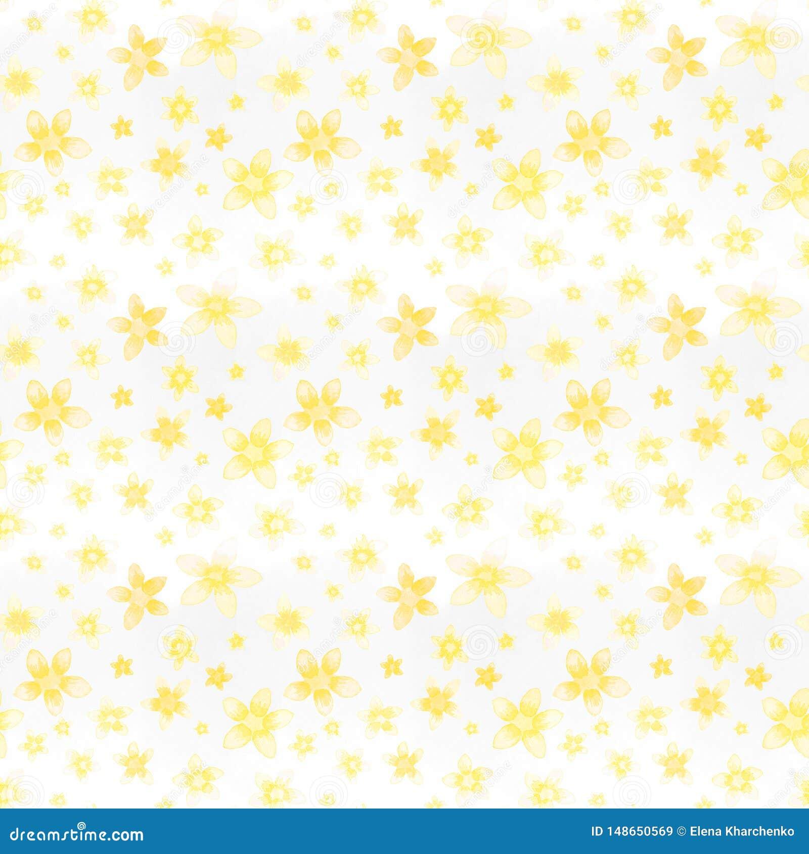 Den s?ml?sa modellvattenf?rgen m?lade gula sm? blommor