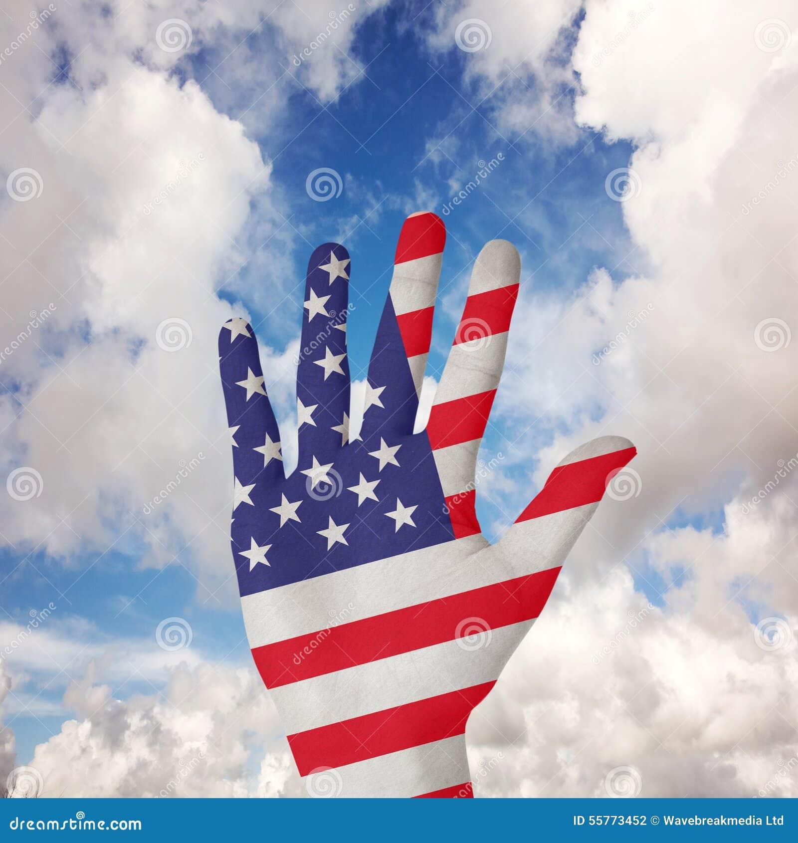 Den sammansatta bilden av handen med fingrar fördelade ut