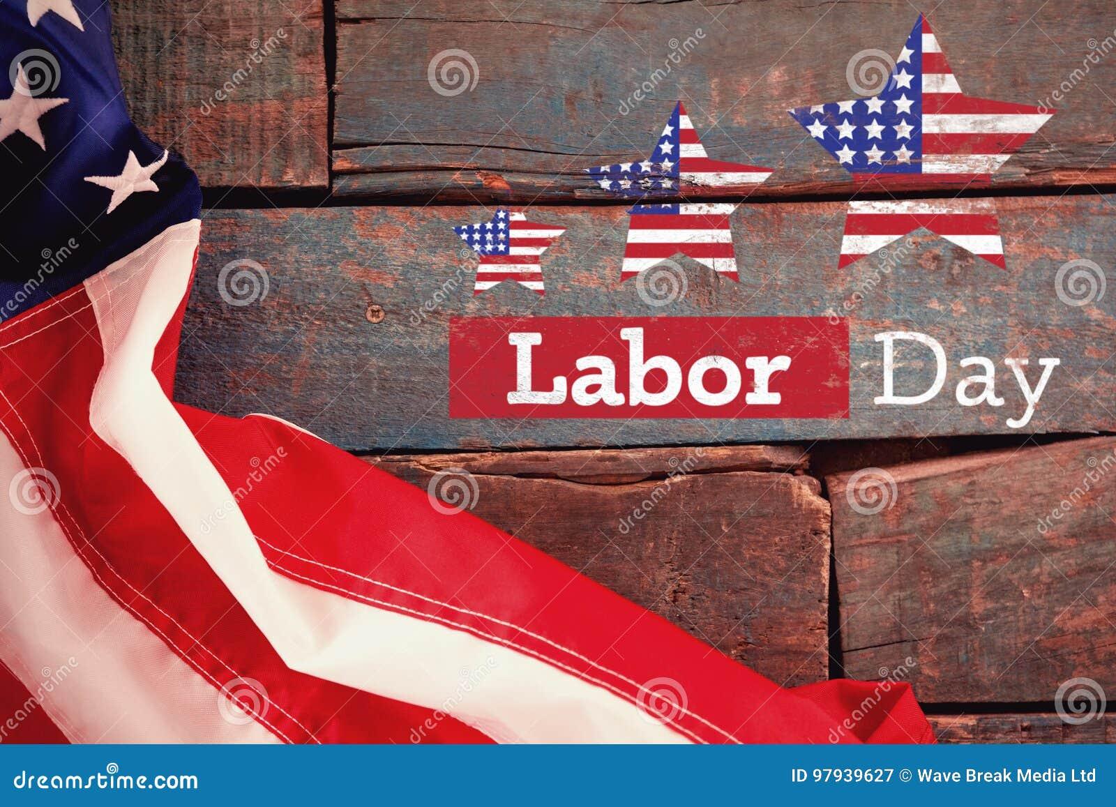 Den sammansatta bilden av den sammansatta bilden av text för den arbets- dagen med stjärnan formar amerikanska flaggan
