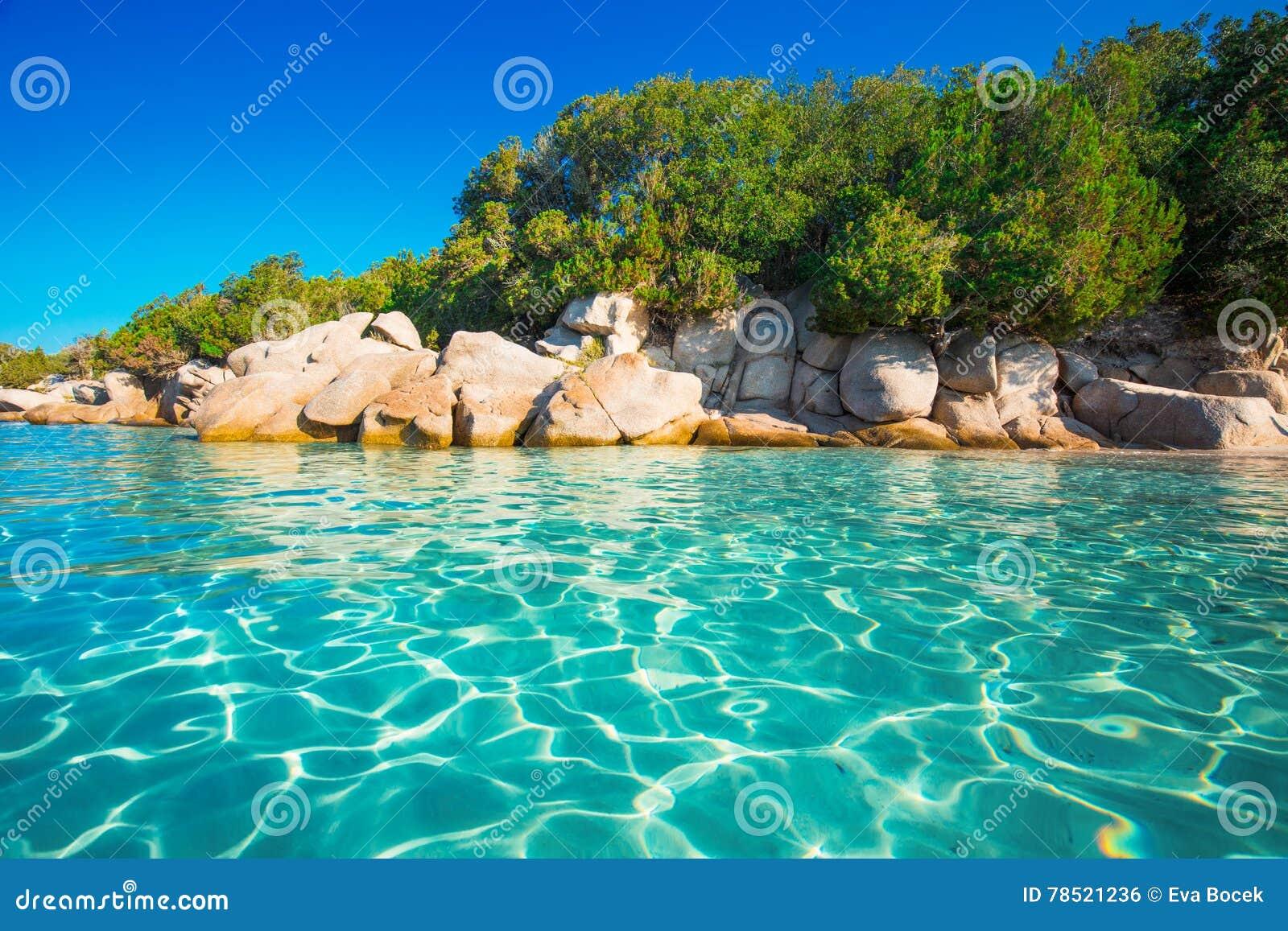Den Santa Giulia Stranden Med Azurer Gor Klar Vatten Korsika Frankrike Arkivfoto Bild Av Clear Karibiskt 78521236