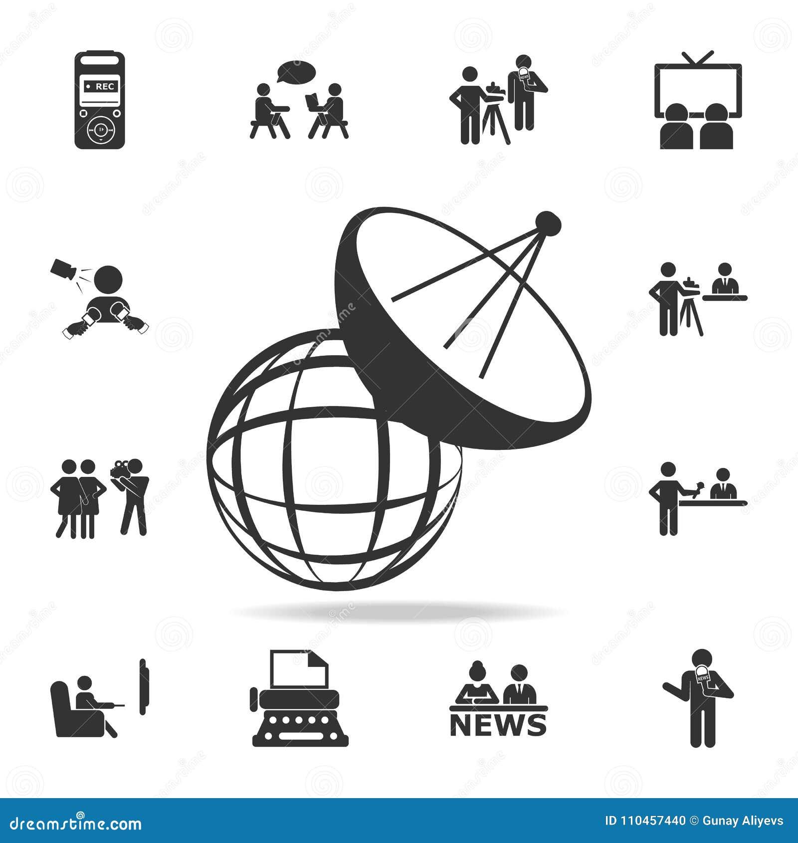 Den satellit- antennen för ingreppet med konstruktion och signalen vinkar symbolen Detaljerade uppsättningsymboler av massmediabe