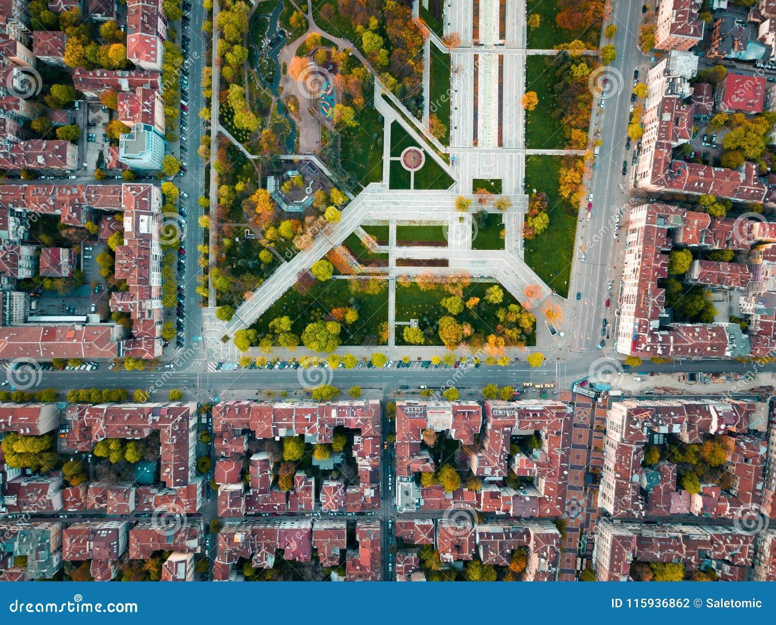 Den seriella sikten av minnes- parkerar i Sofia Bulgaria