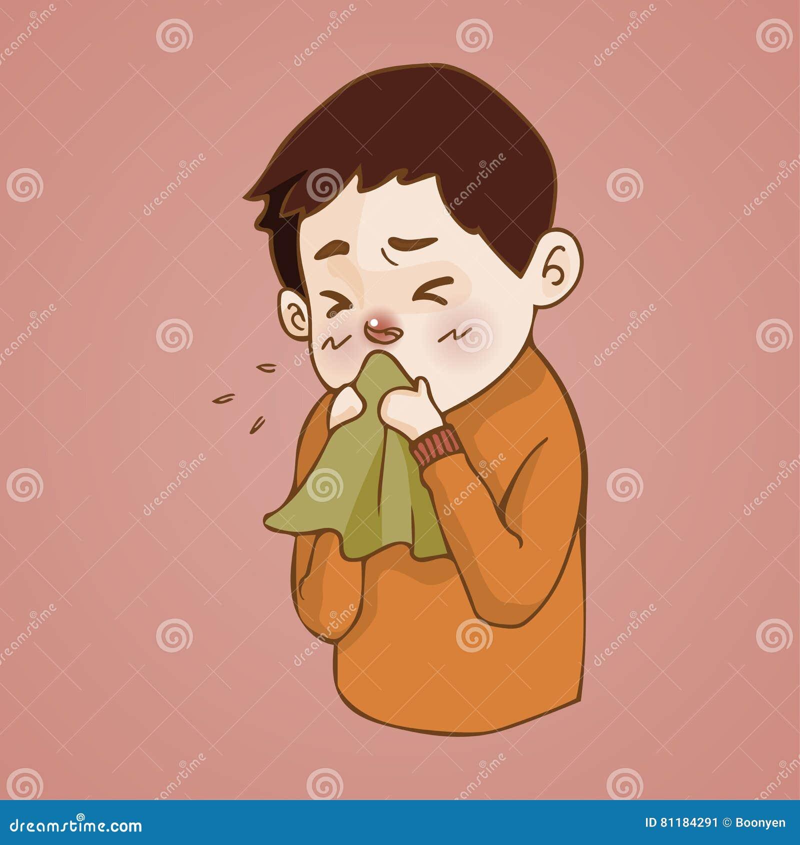Den sjuka mannen har den rinnande näsan, fångad förkylning nysa in i silkespapper, influensa, allergisäsong