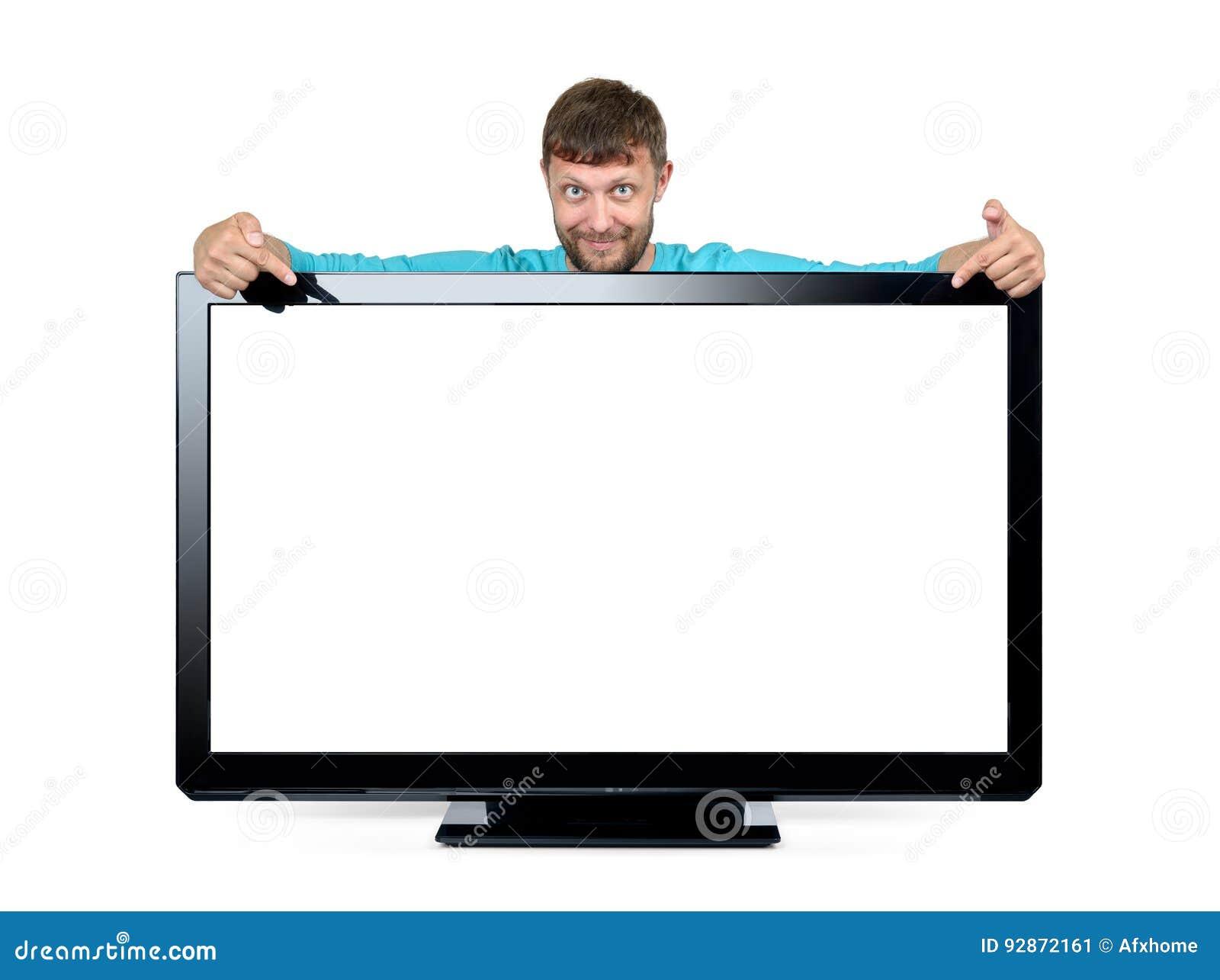 Den skäggiga mannen annonserar en widescreen TV på vit bakgrund Mappen innehåller en bana till isolering
