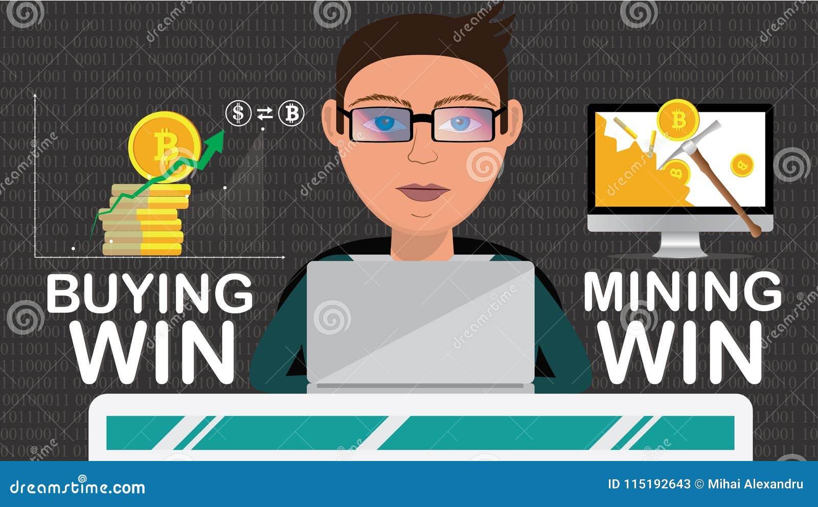 Den smarta affärsmannen som gör cryptocurrencyoperation, gillar att bryta eller att köpa