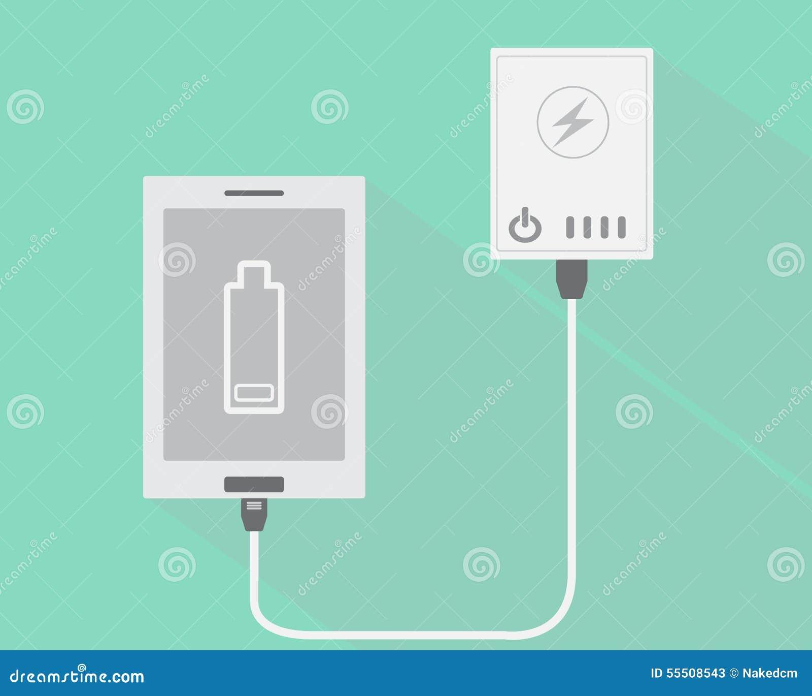 Den smarta telefonen förbinder med maktbanken