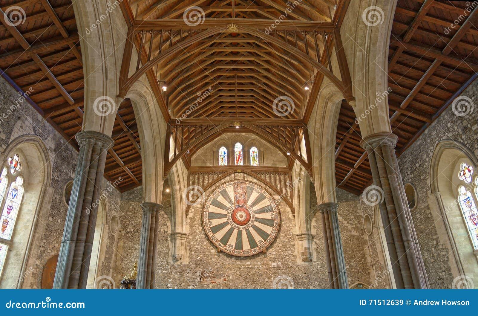 Den stora Hallen av den Winchester slotten i Hampshire, England