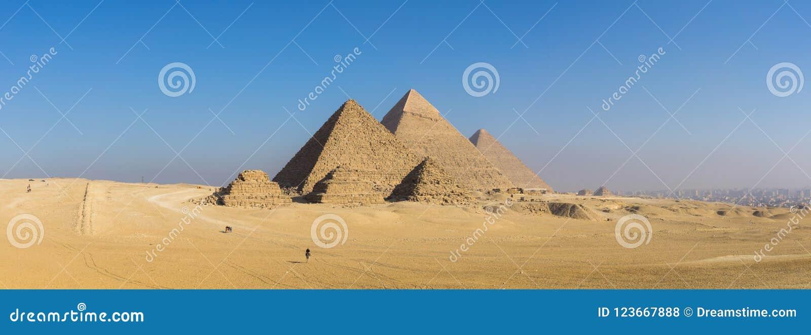 Den stora pyramiden av Giza och sfinxen, Kairo, Egypten