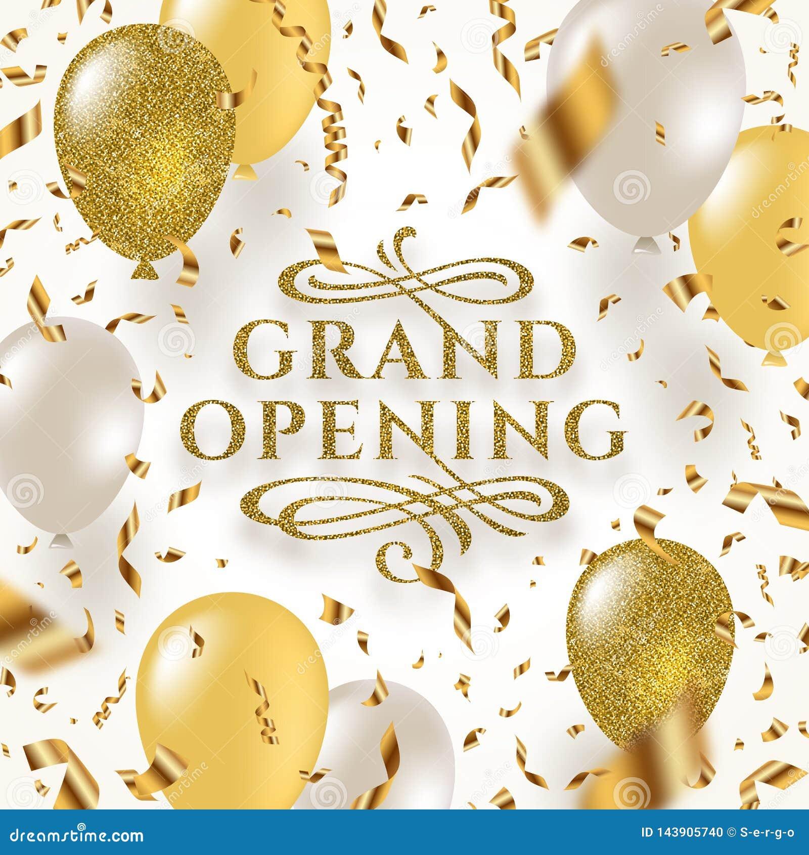 Den storslagna öppningen - blänka den guld- logoen med dekorativa beståndsdelar för krusidullar som omges av guld- foliekonfettie
