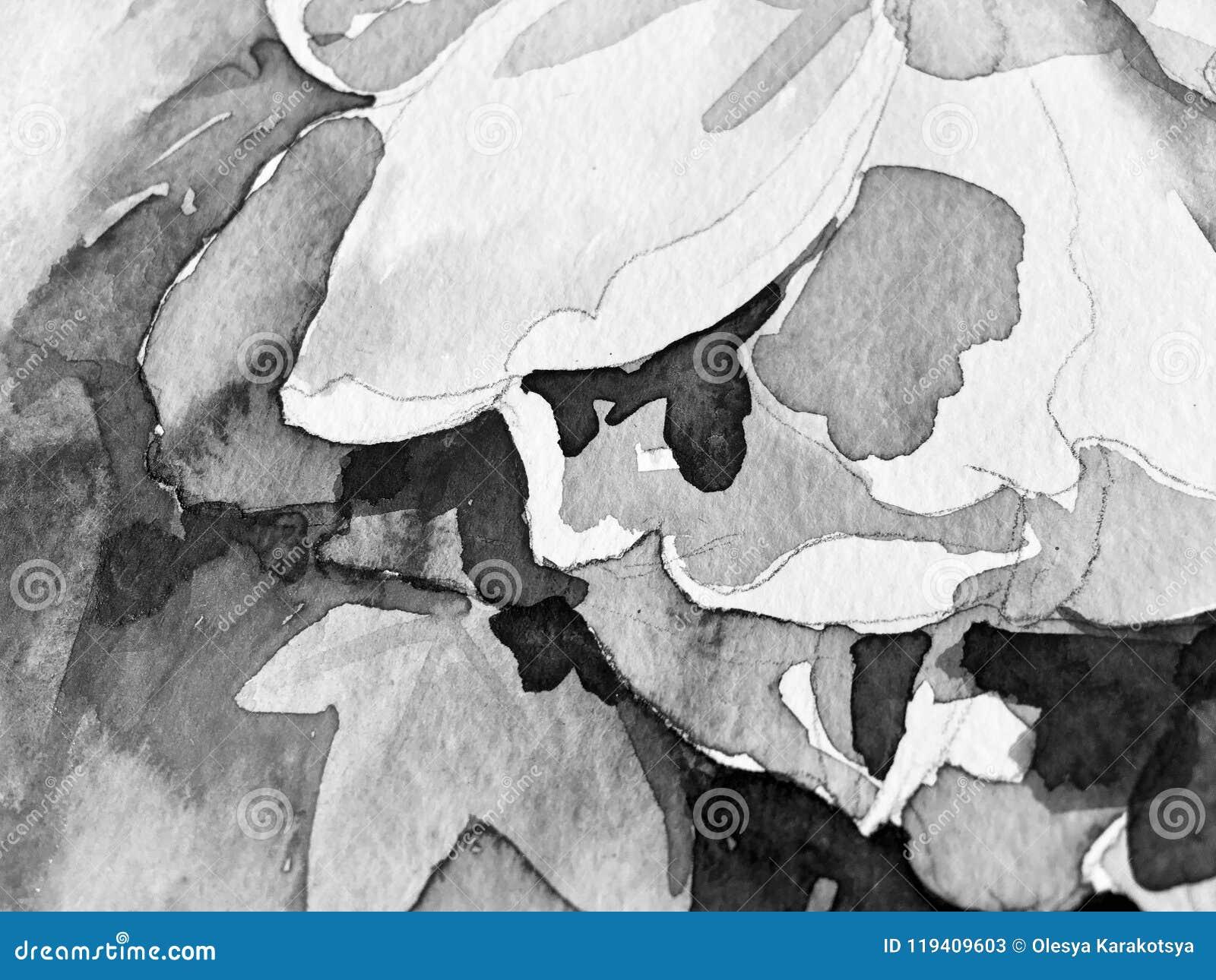 Den svartvita handmålningvattenfärgen poserar