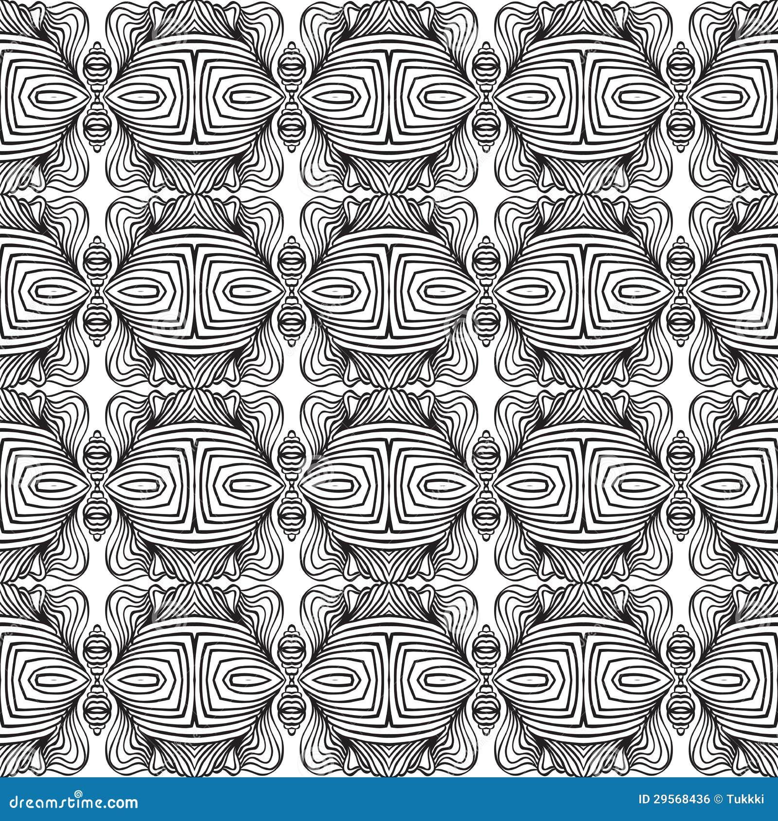 Den svartvita linjära art déco mönstrar