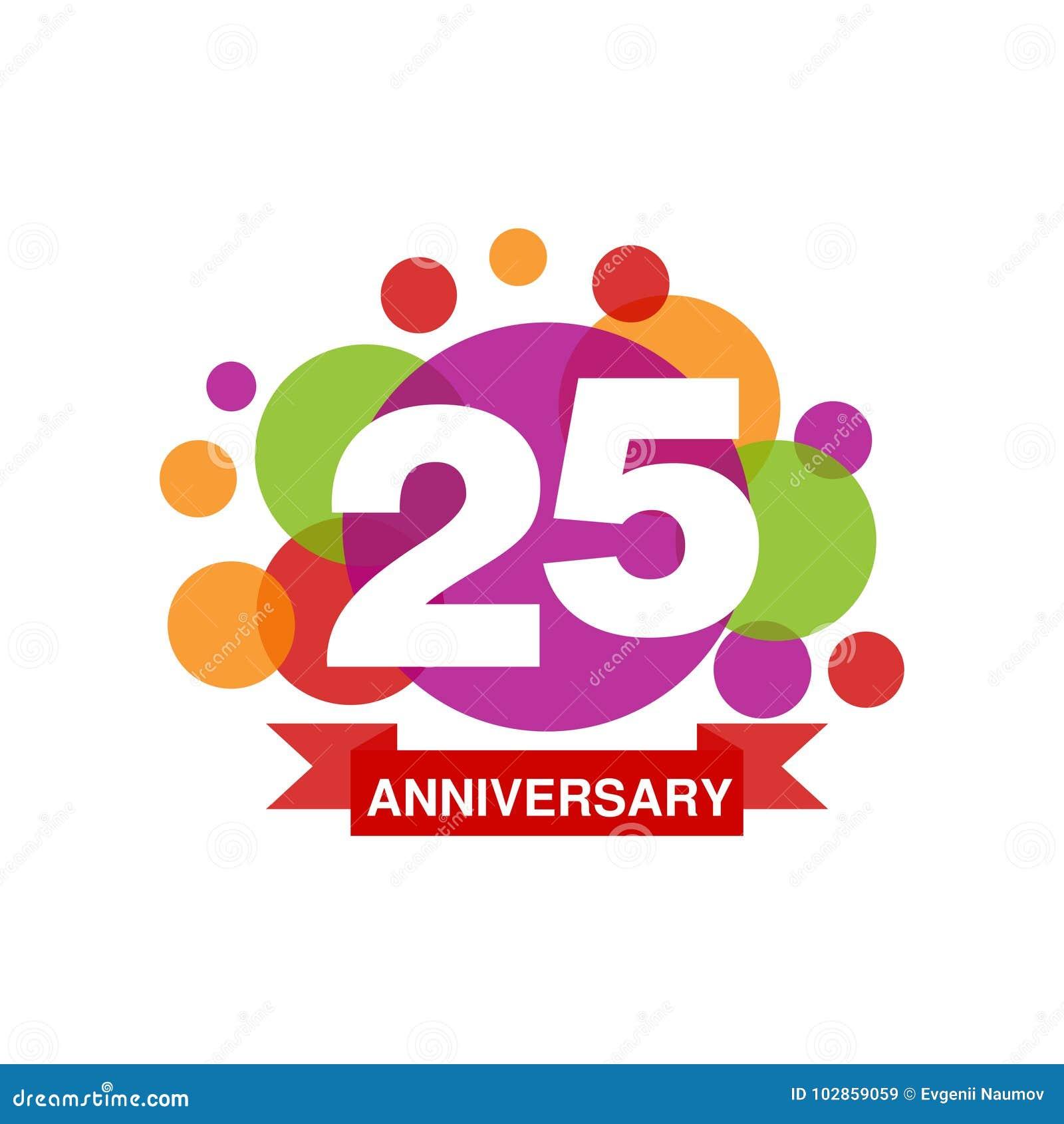 Den 25th årsdagen färgade logodesignen, festligt berömemblem för lycklig ferie med bandvektorillustrationen