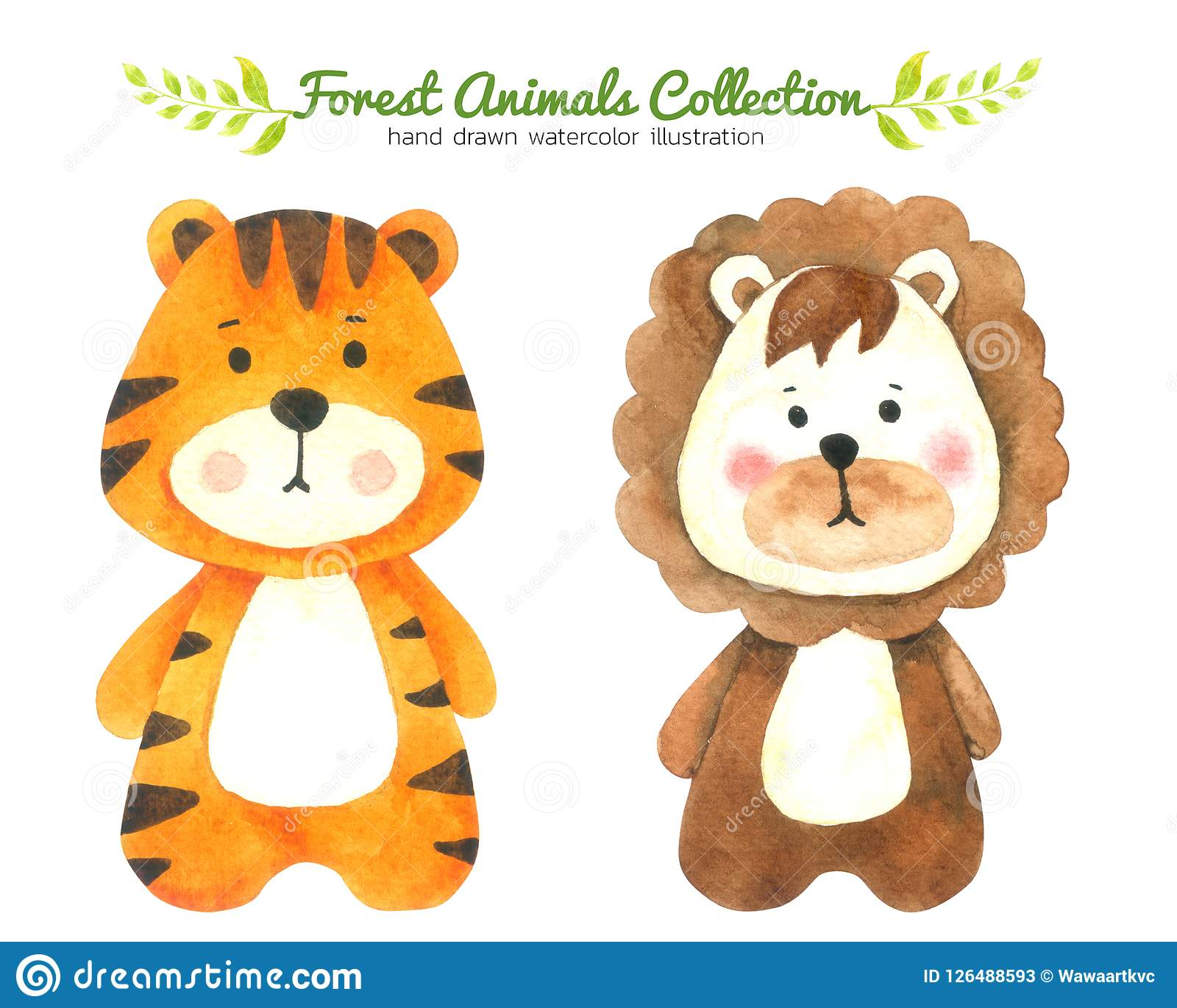Den tiger- och Lion Cartoon vattenfärgsamlingen som isolerades på vit bakgrund, drog Forest Animal Hand, målade teckenet för unga