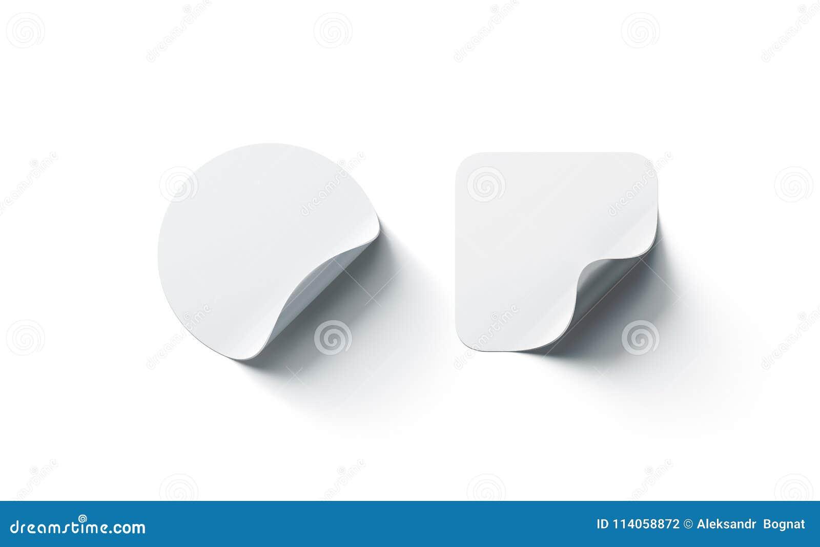 Den tomma vitrundan och den buktade klistermärkemodellen för fyrkant självhäftande tränga någon,