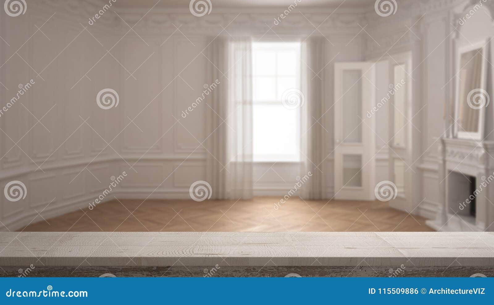 Den trätappningtabellöverkanten eller hyllacloseupen, zenlynne, över suddigt klassiskt tömmer rum med det stora fönstret med spis