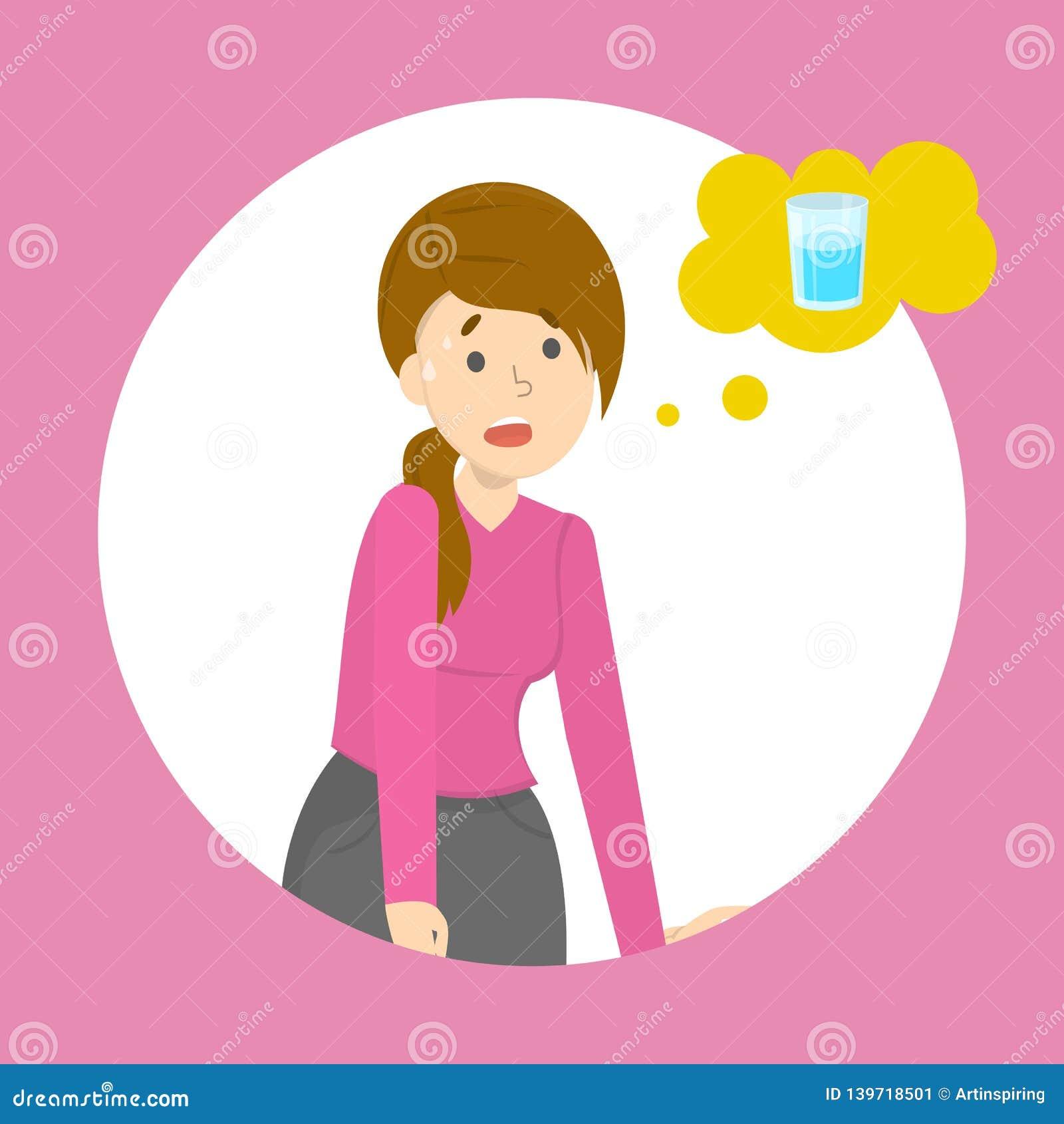 Den tröttade kvinnan tänker om exponeringsglas av vatten